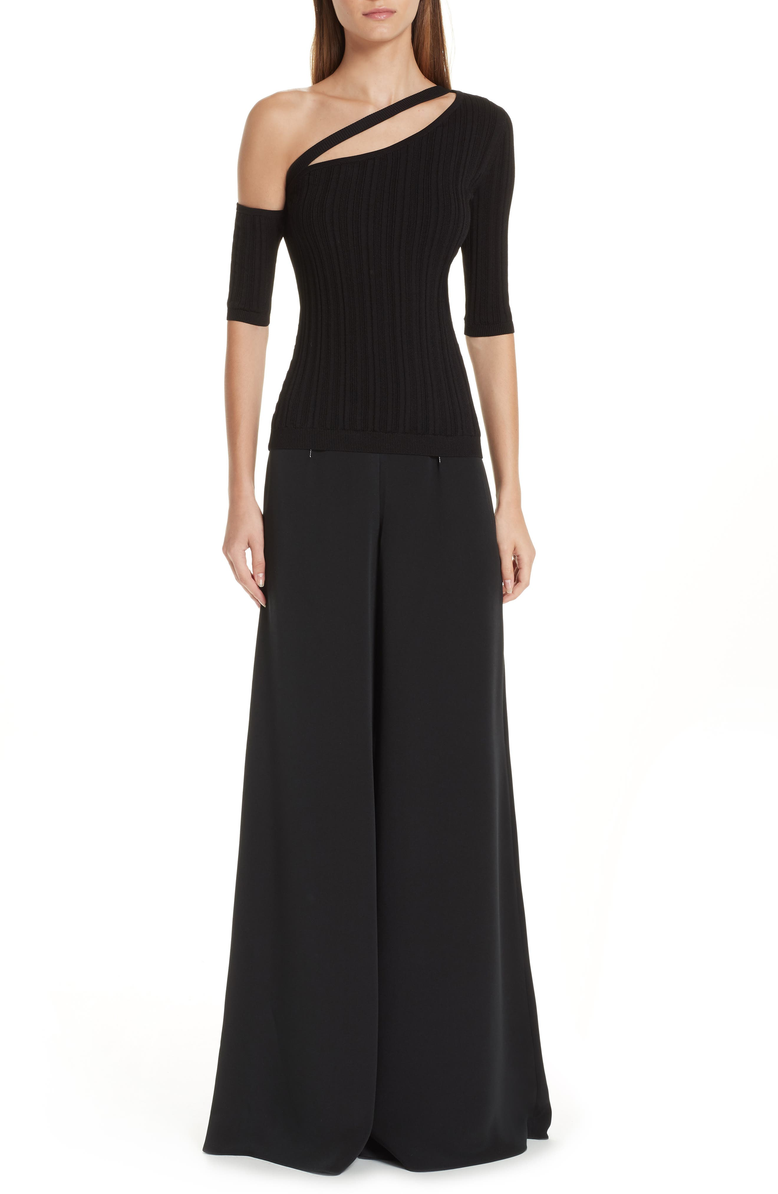 CUSHNIE,                             Cutout One-Shoulder Top,                             Alternate thumbnail 8, color,                             BLACK