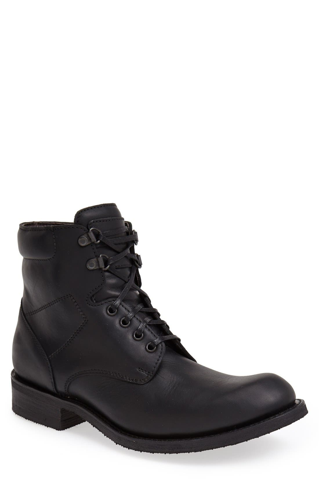 'Traveler' Round Toe Boot,                         Main,                         color, BLACK MONCAY