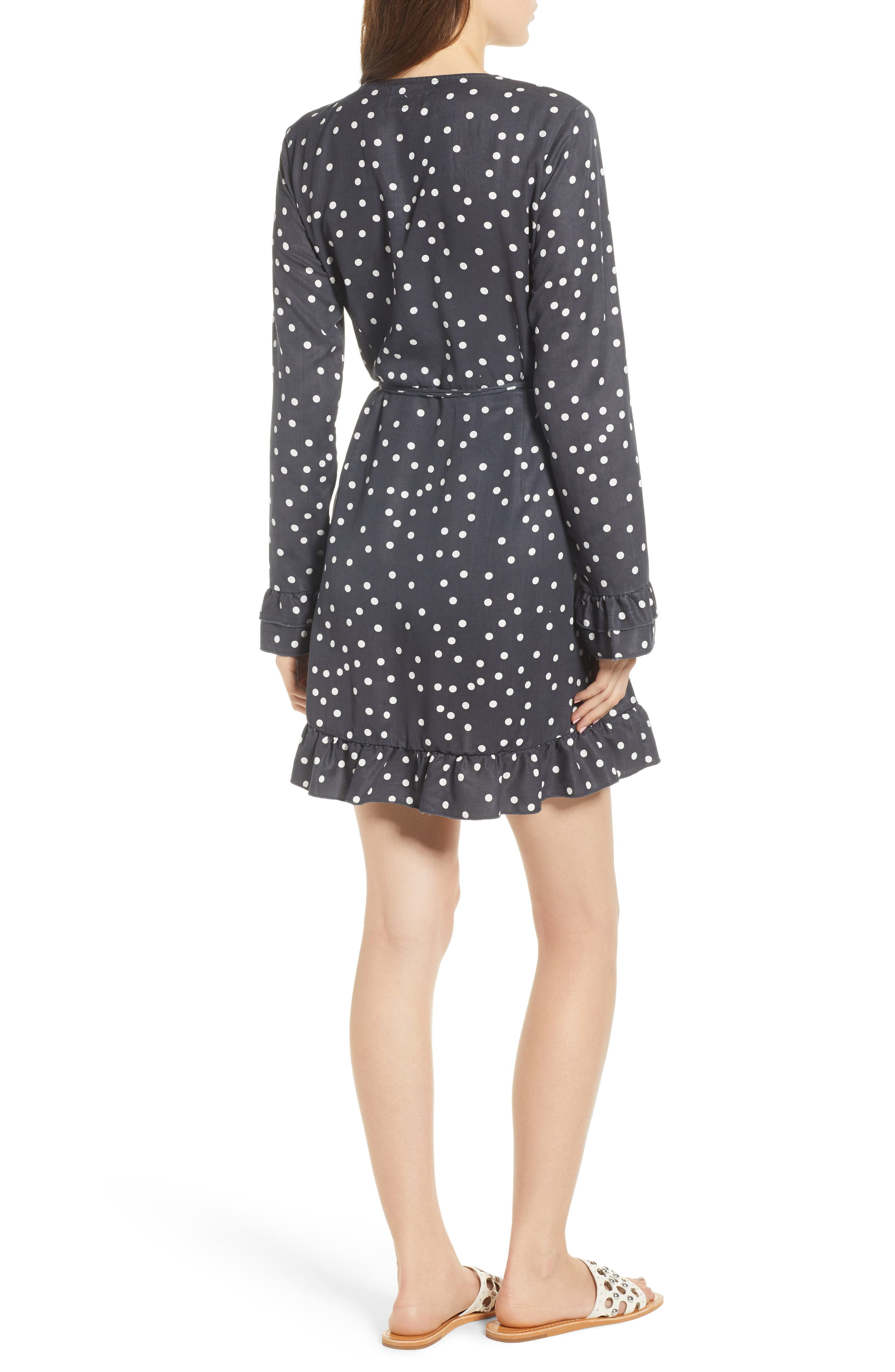 Ainsley Wrap Dress,                             Alternate thumbnail 2, color,                             MIDNIGHT POLKA DOT
