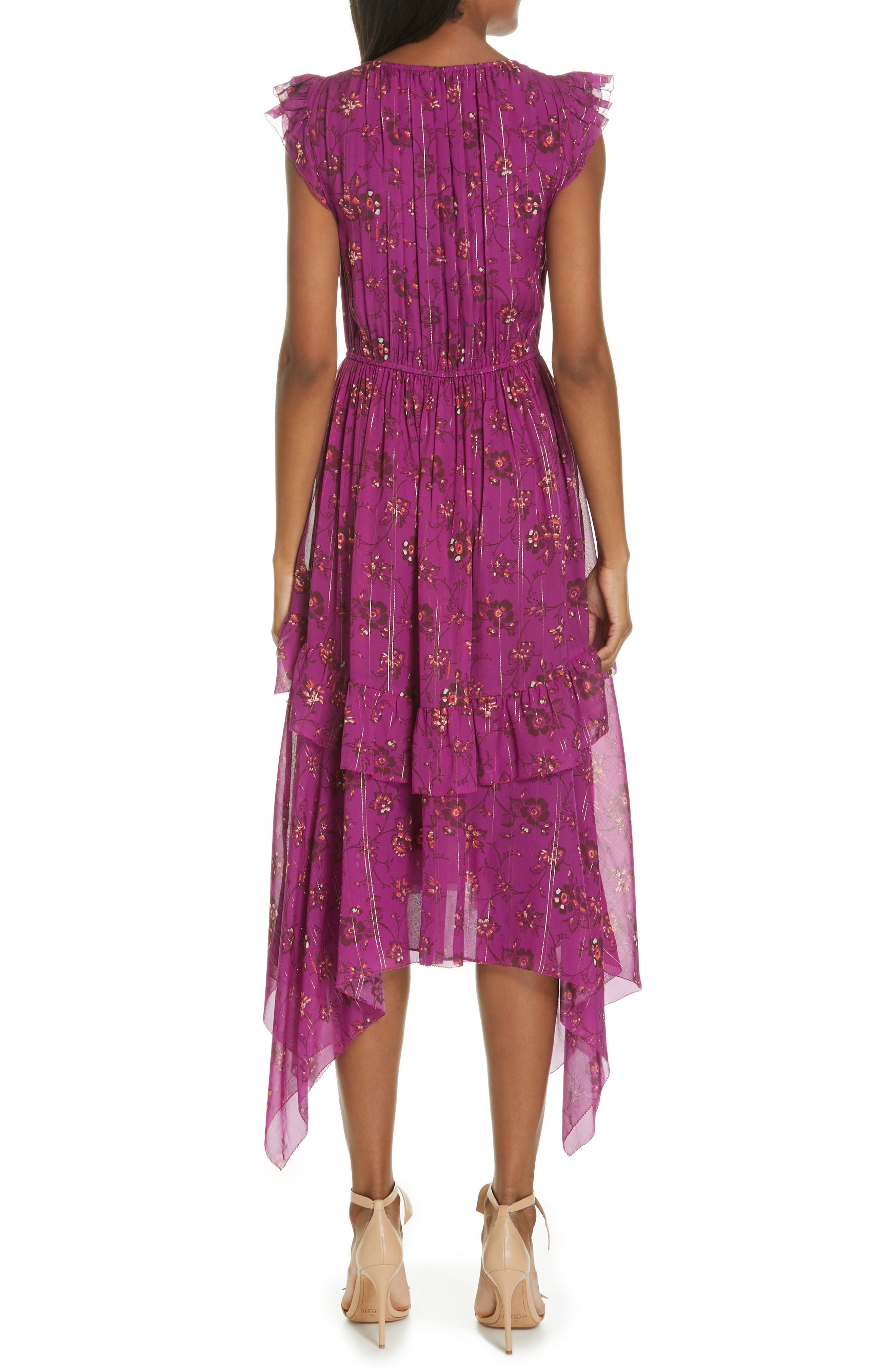 Ciel Floral Print Silk Blend Dress,                             Alternate thumbnail 2, color,                             MAGENTA