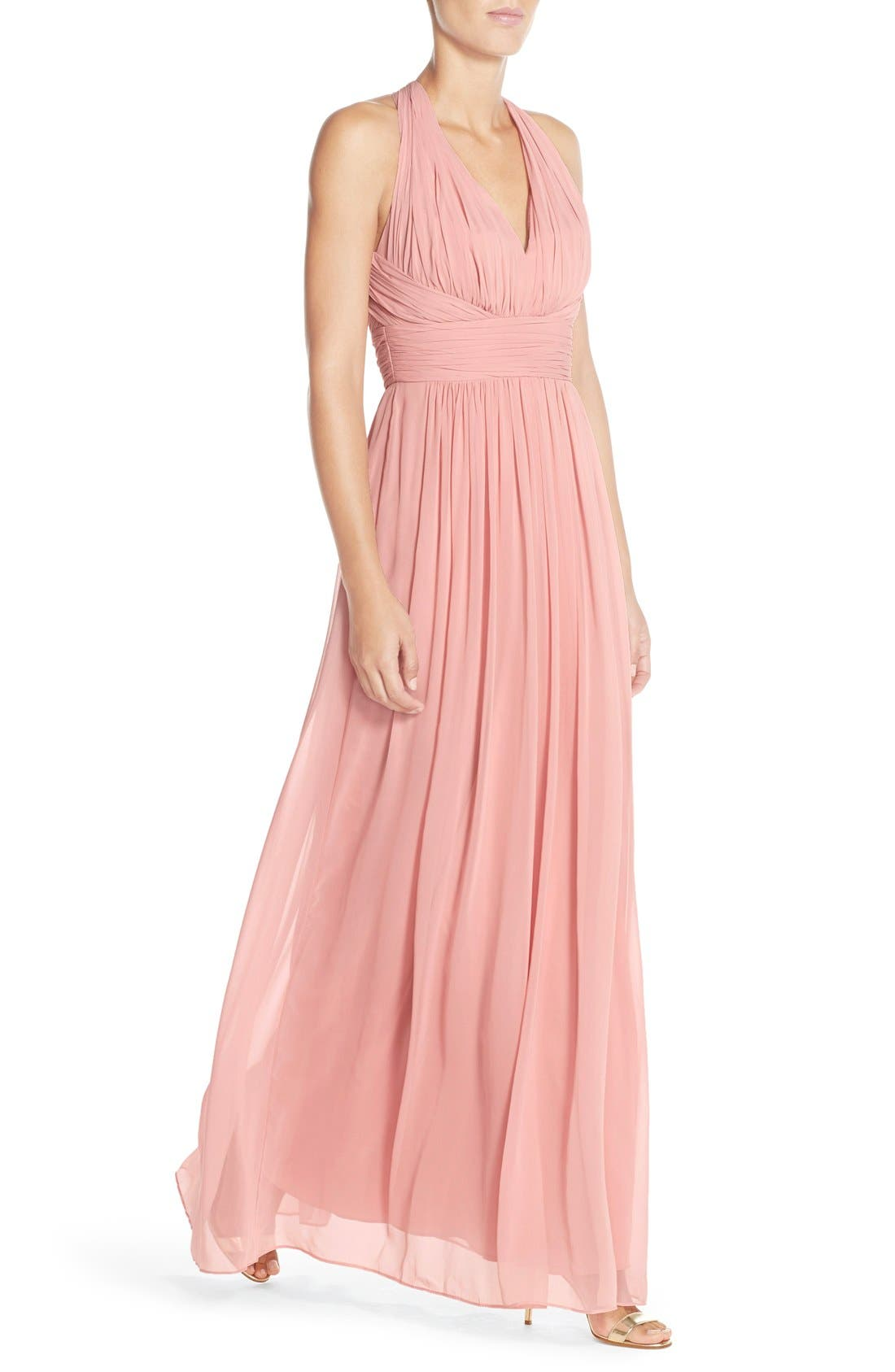 Dessy Collection Ruched Chiffon V-Neck Halter Gown,                             Alternate thumbnail 9, color,