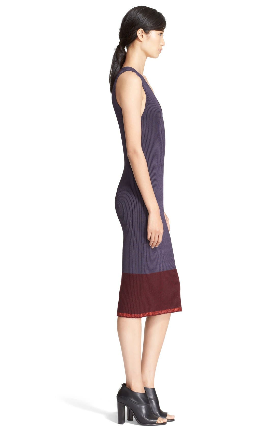 'Kristin' Colorblock Rib Knit Midi Dress,                             Alternate thumbnail 3, color,                             020