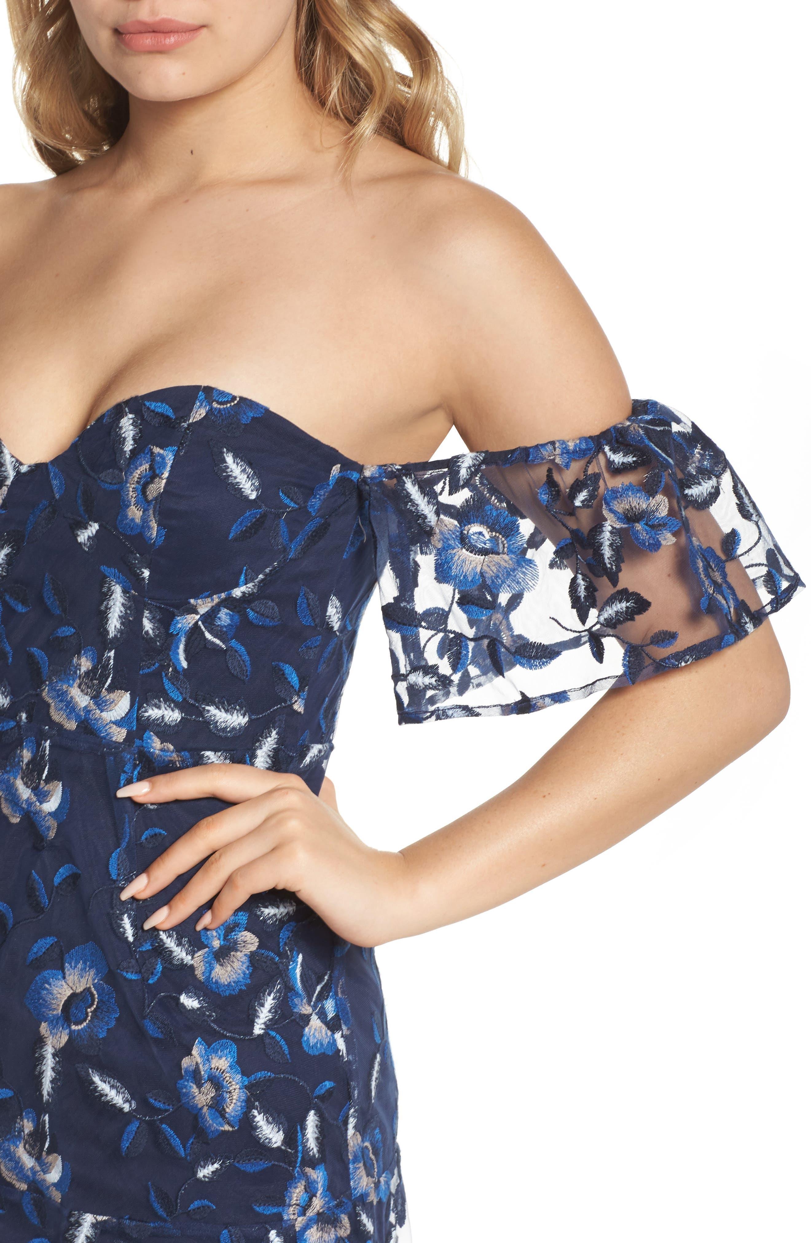 Sapphire Lace Off the Shoulder Dress,                             Alternate thumbnail 4, color,                             471