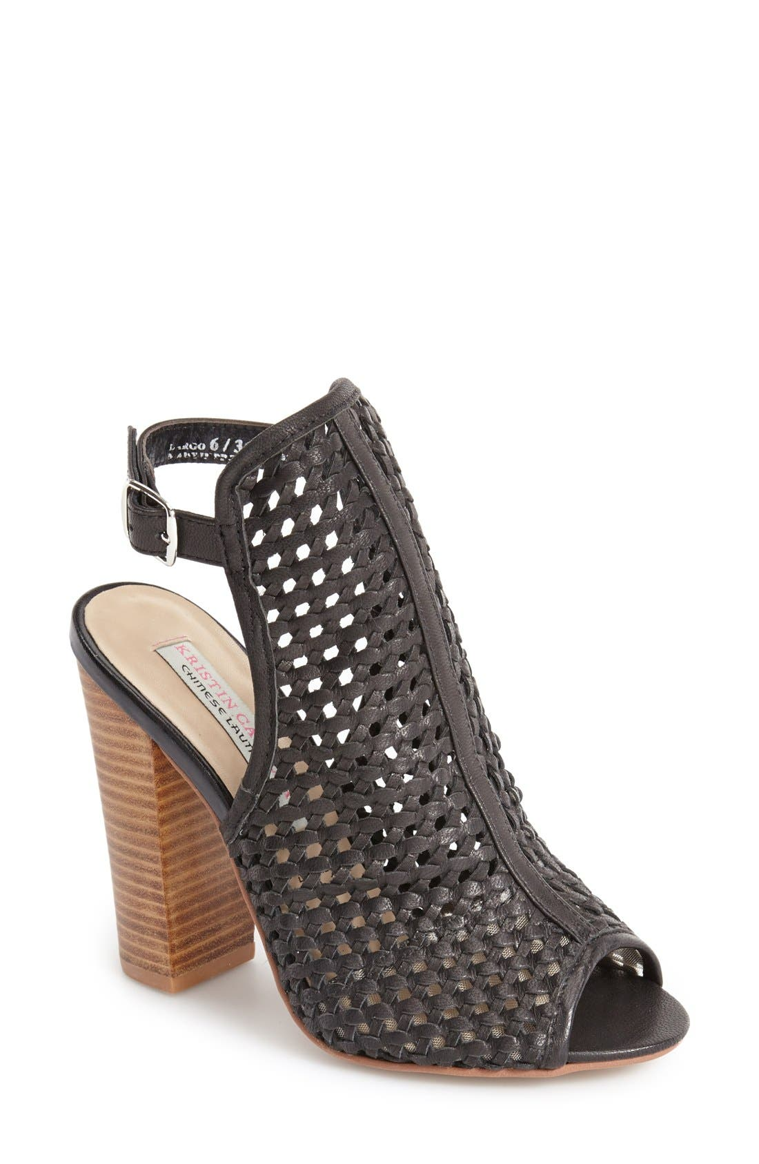 'Largo' Woven Leather Open Back Sandal,                             Main thumbnail 1, color,                             001