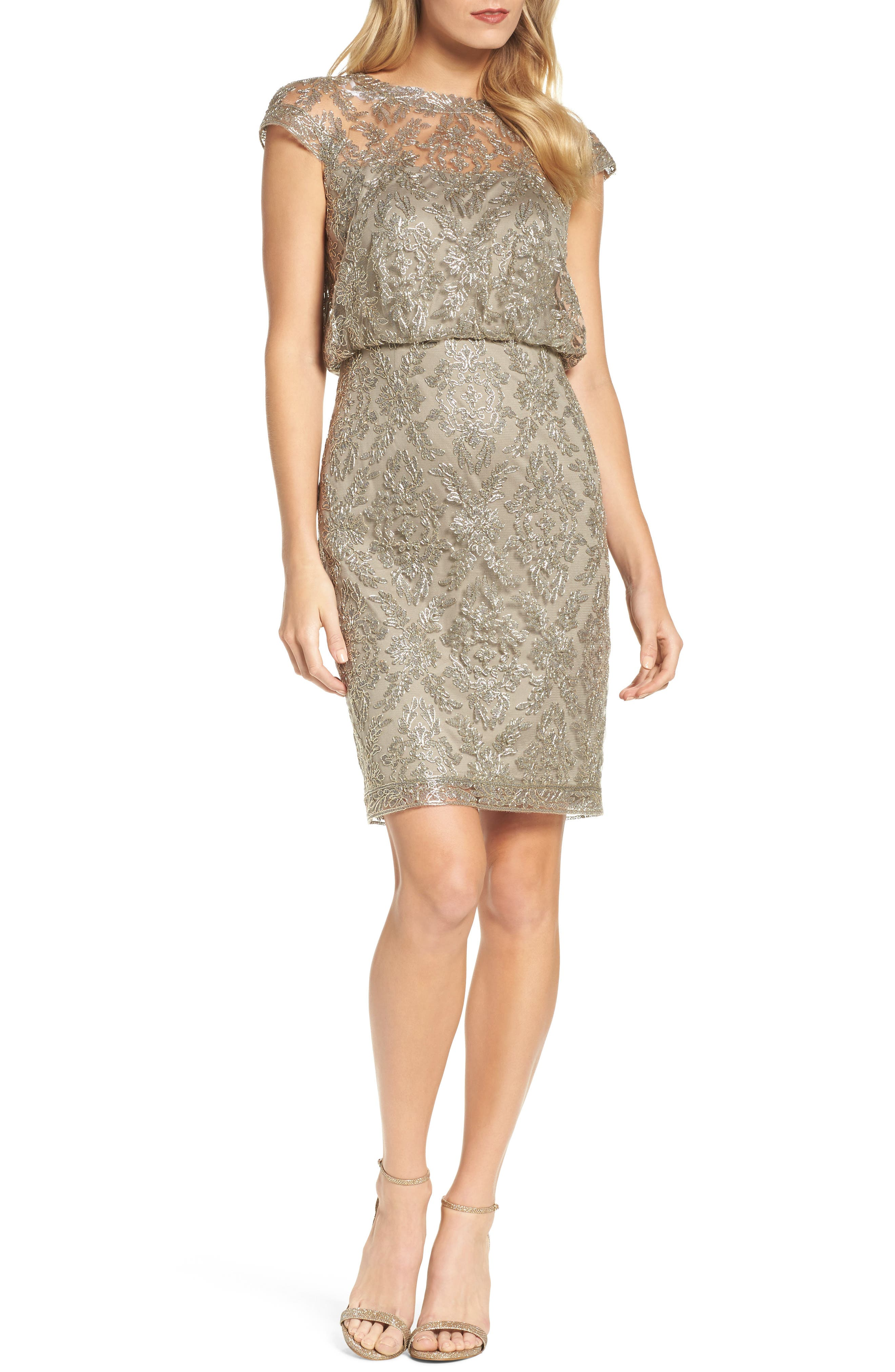 Embroidered Metallic Blouson Dress,                         Main,                         color,