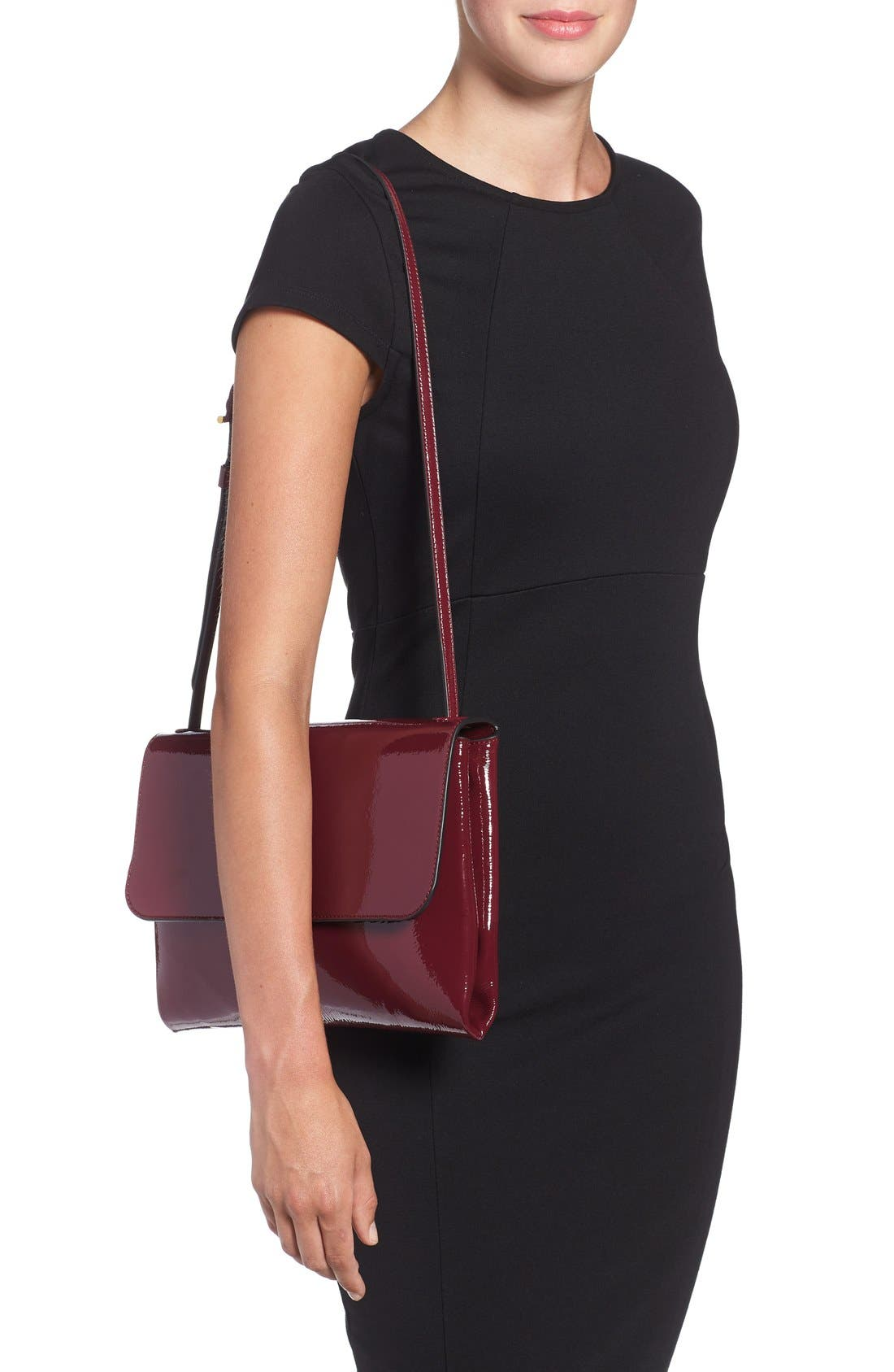 Patent Leather Convertible Shoulder Bag,                             Alternate thumbnail 4, color,                             606