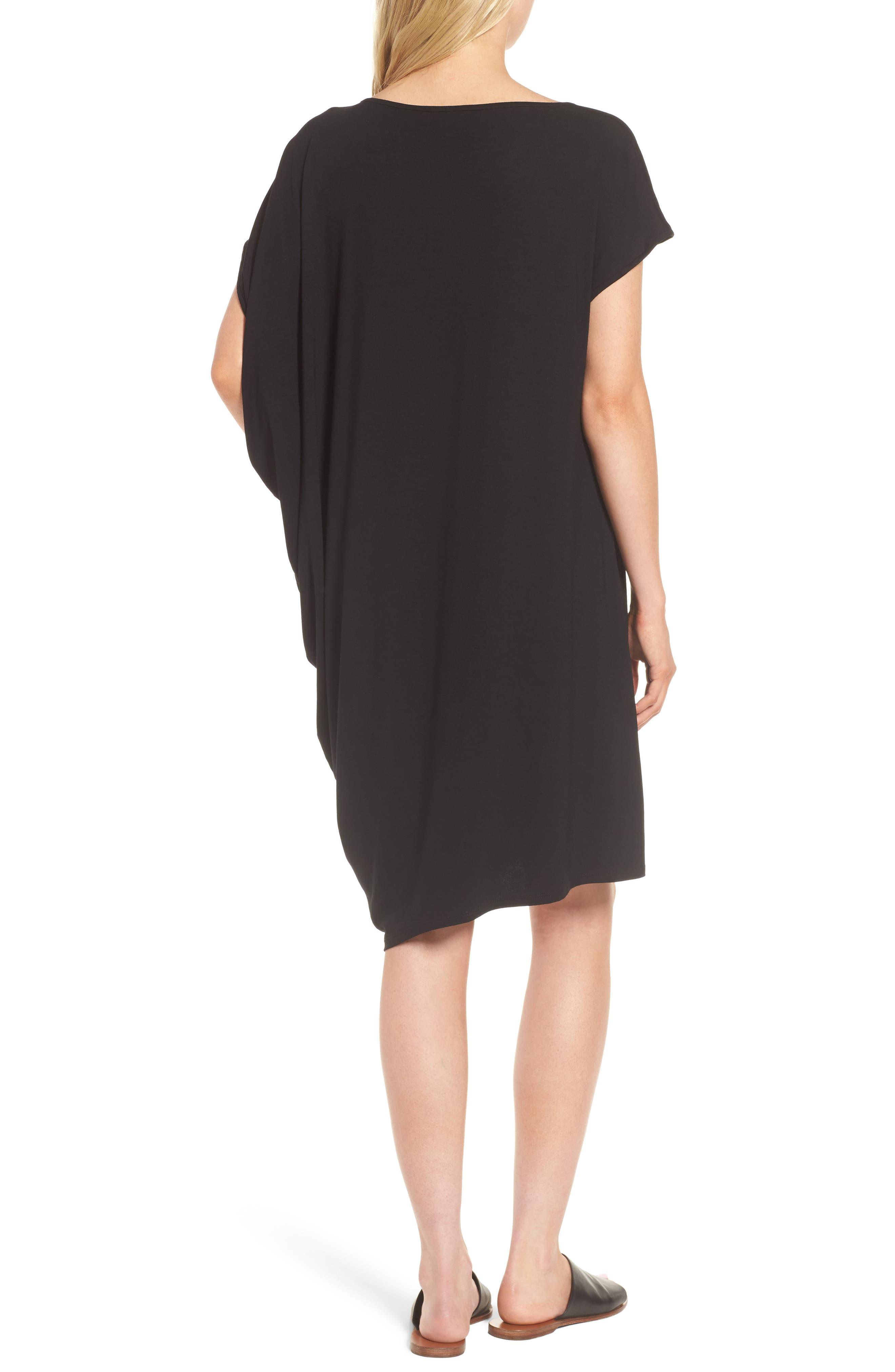 Asymmetrical Jersey Shift Dress,                             Alternate thumbnail 2, color,                             001
