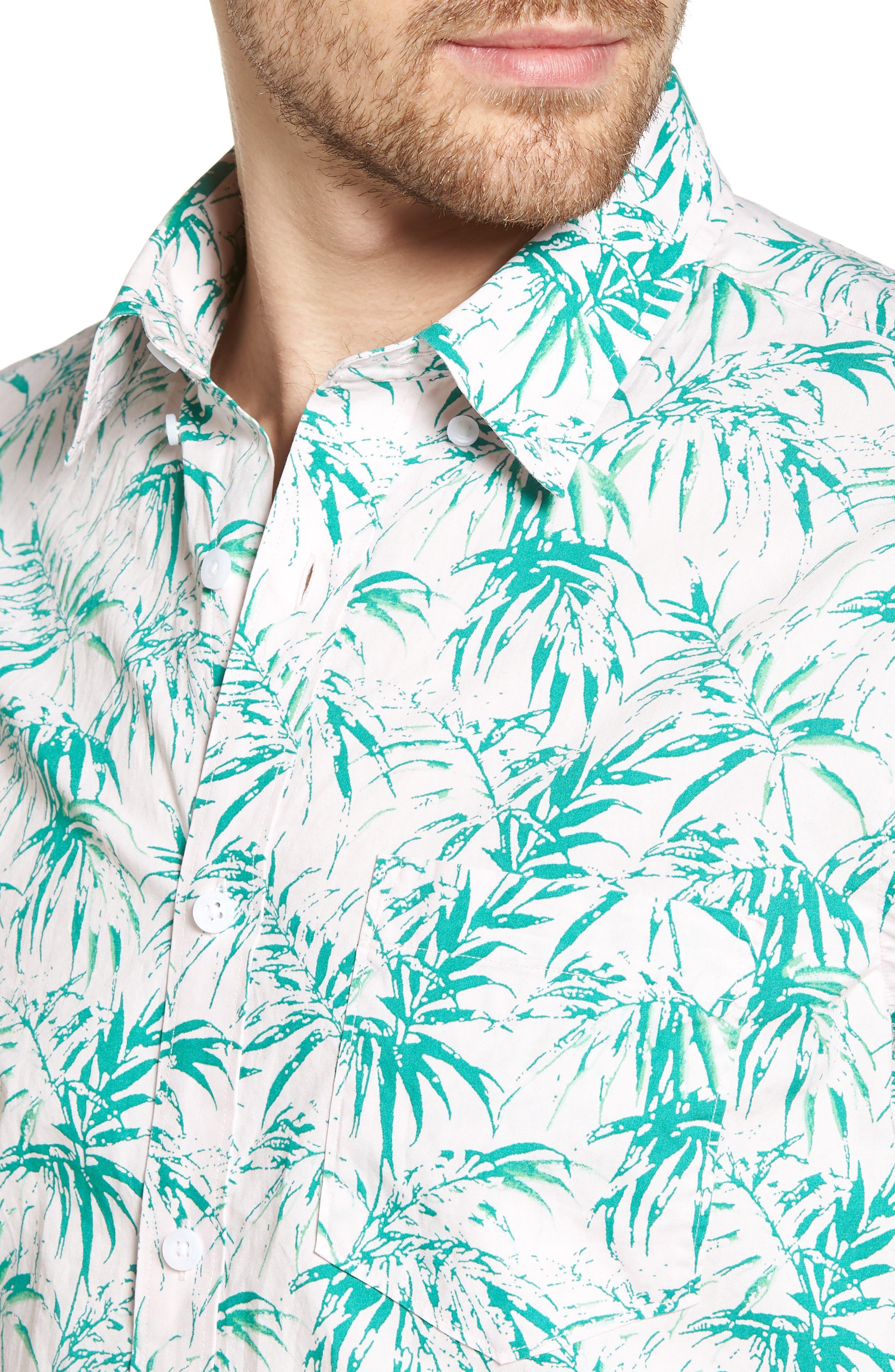 Trim Fit Palm Print Sport Shirt,                             Alternate thumbnail 4, color,                             680