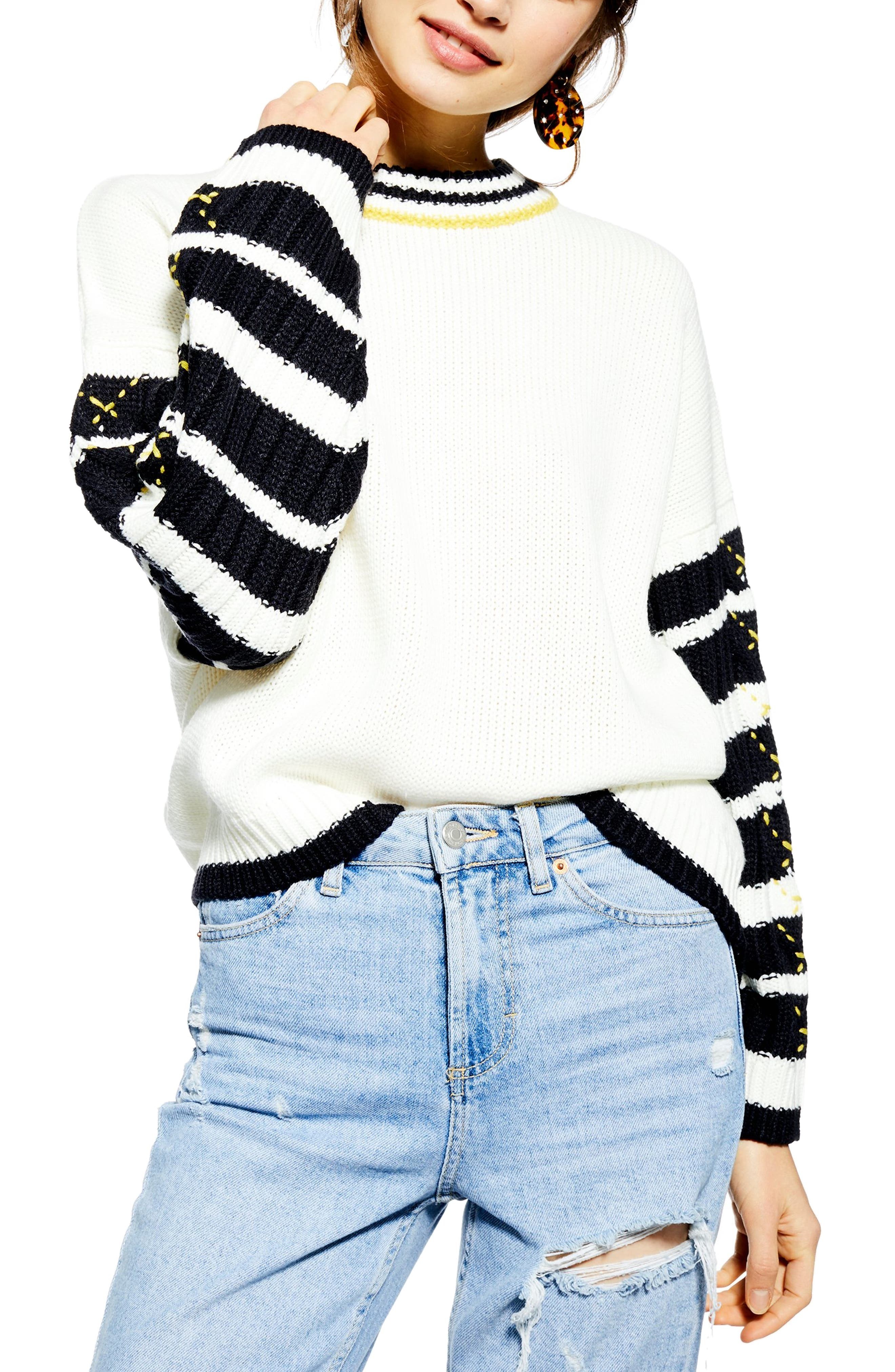 TOPSHOP Whipstitch Pullover, Main, color, IVORY MULTI