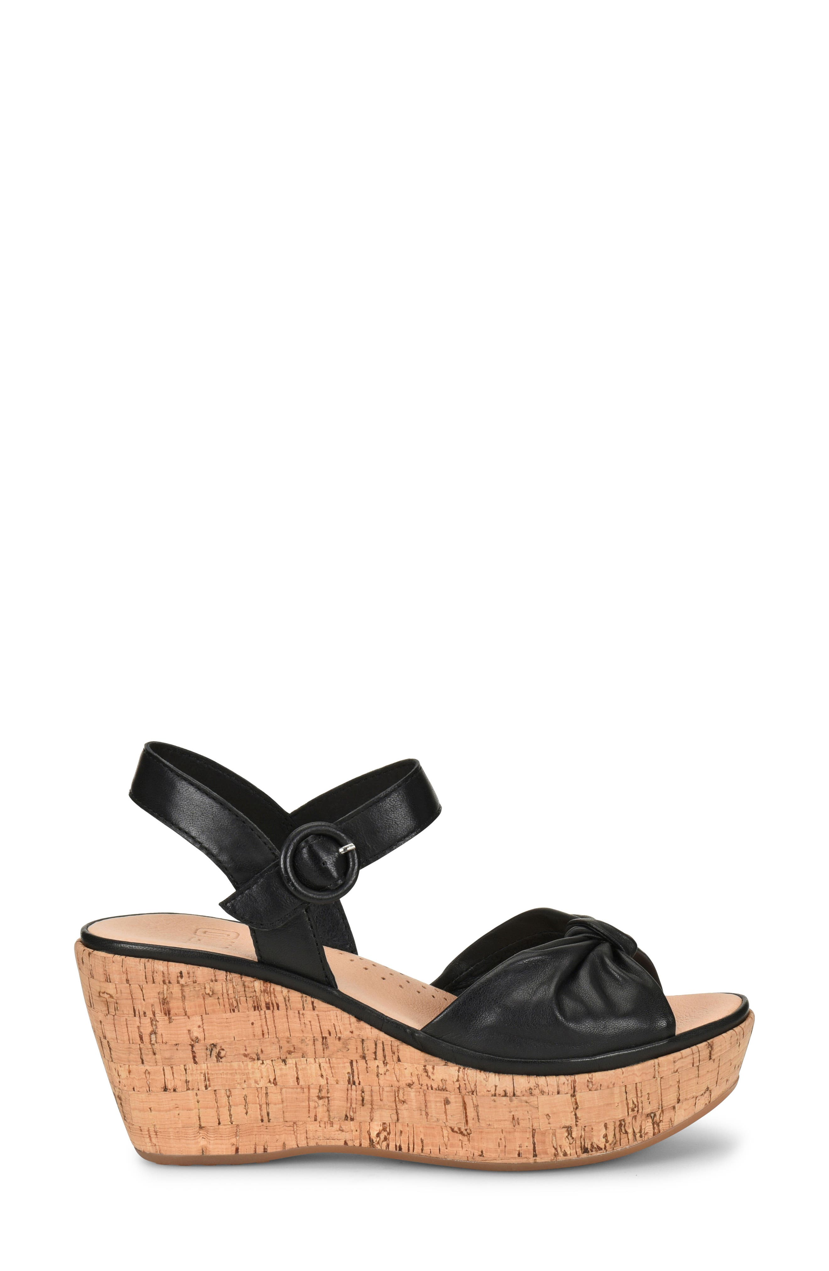 Heavenly Platform Wedge Sandal,                             Alternate thumbnail 3, color,                             BLACK LEATHER
