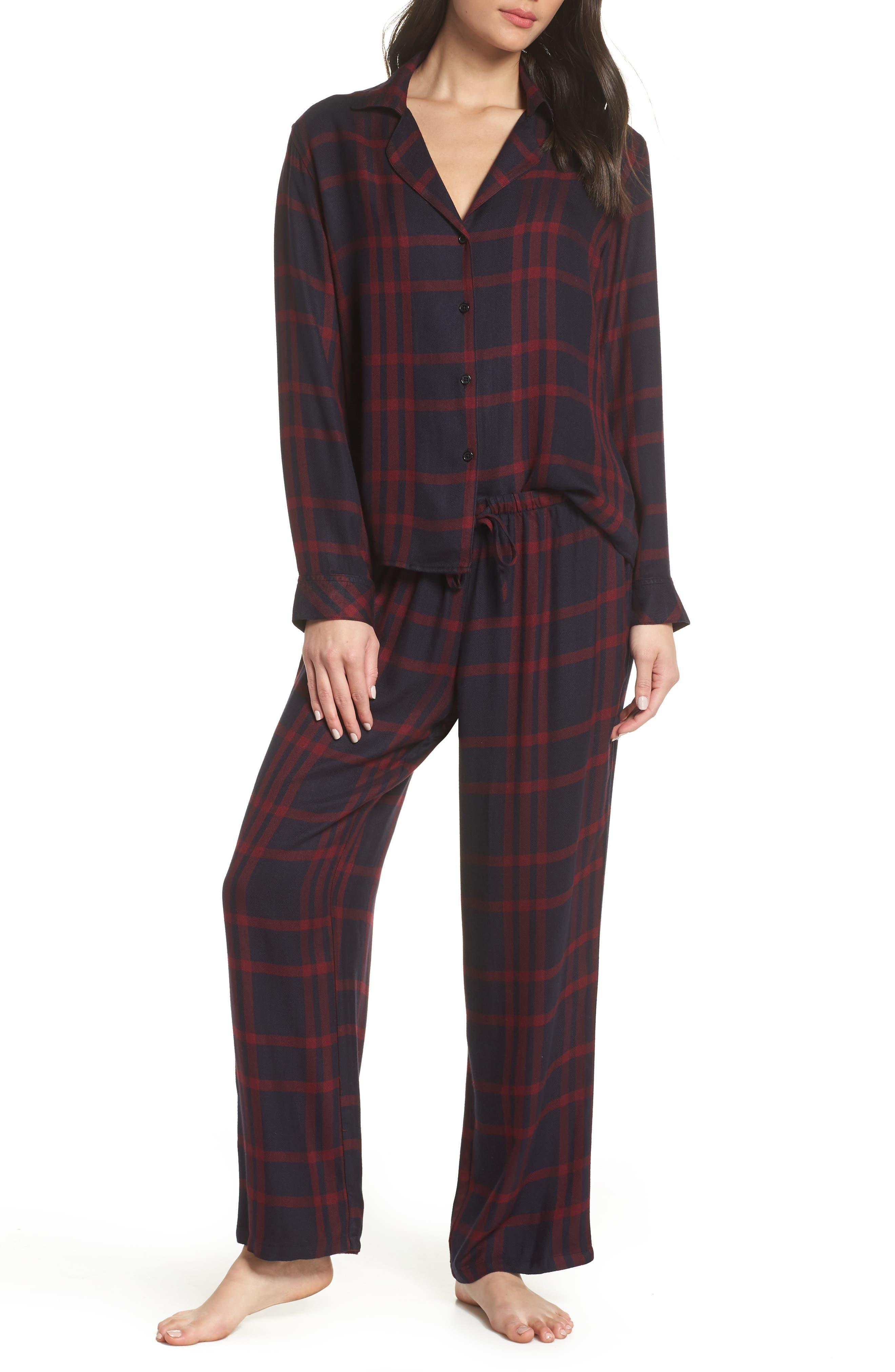 RAILS Two-Piece Plaid Pajama Set in Black Cherry