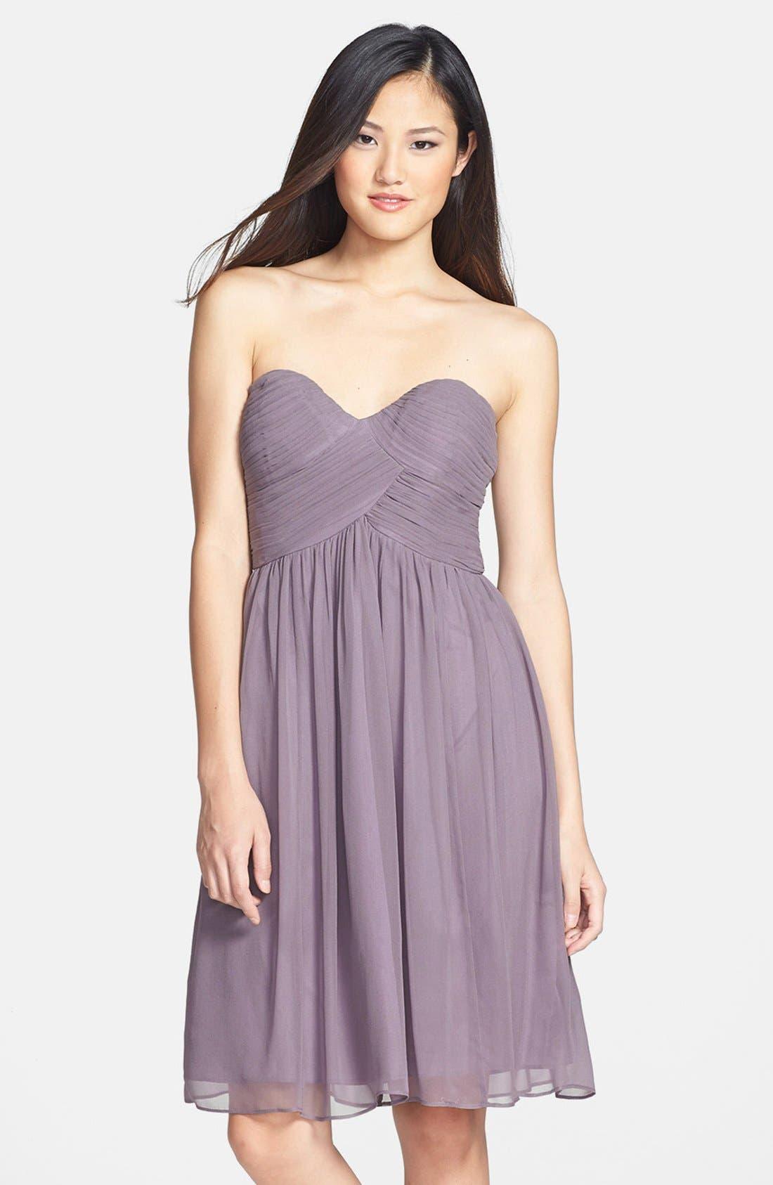 'Morgan' Strapless Silk Chiffon Dress,                             Main thumbnail 4, color,
