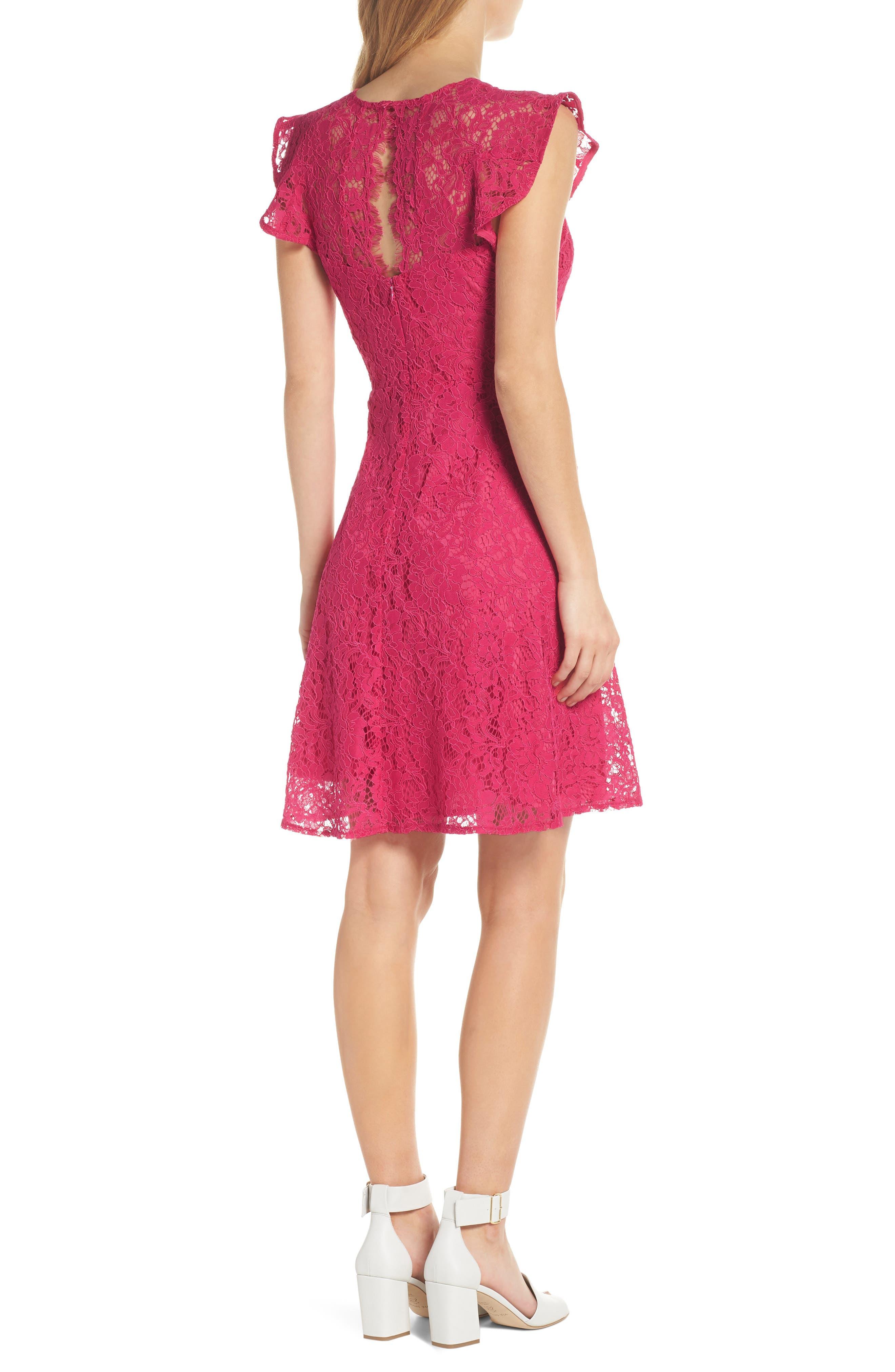 Lace Fit & Flare Dress,                             Alternate thumbnail 2, color,