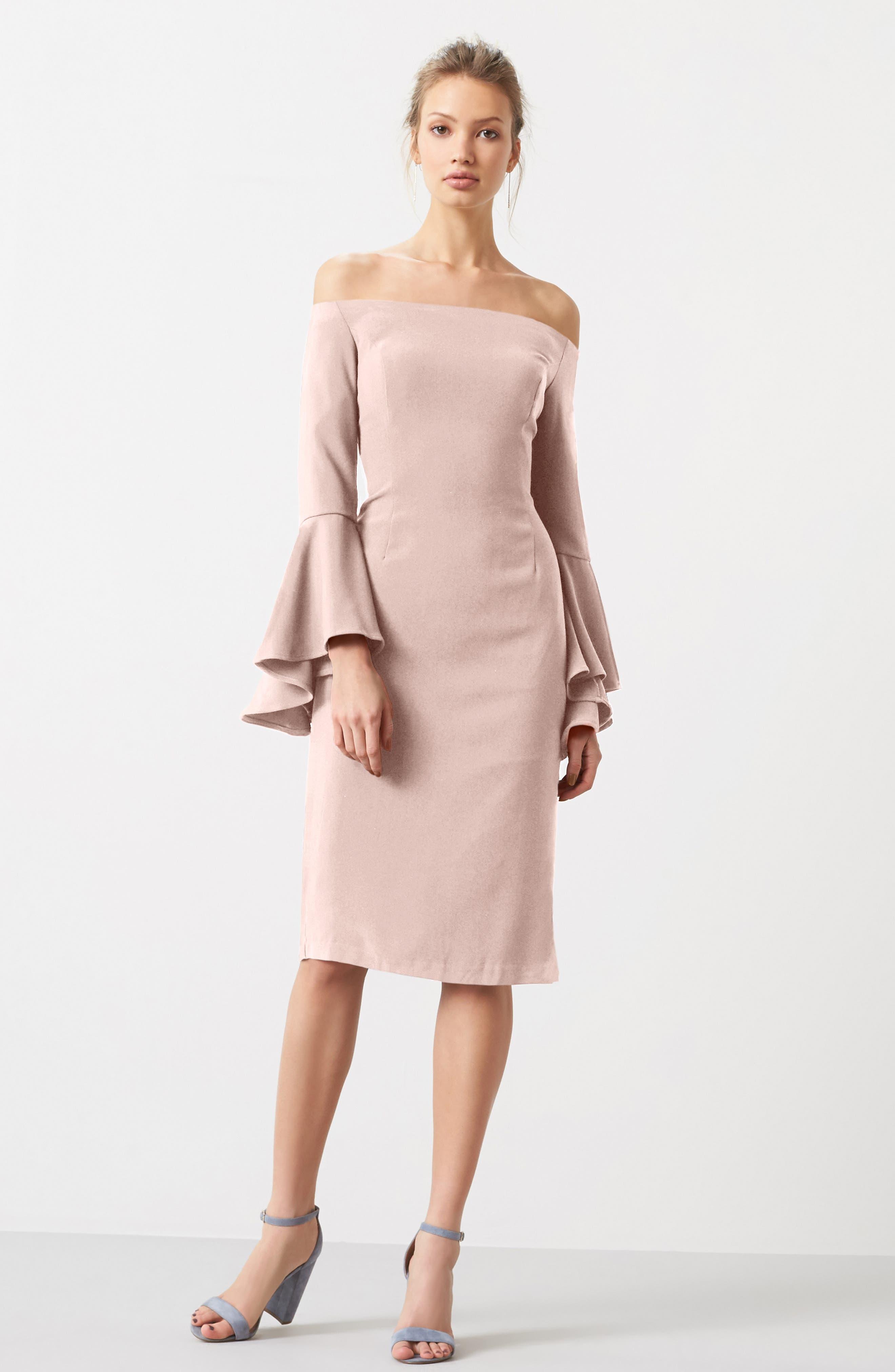 'Solange' Off the Shoulder Midi Dress,                             Main thumbnail 4, color,