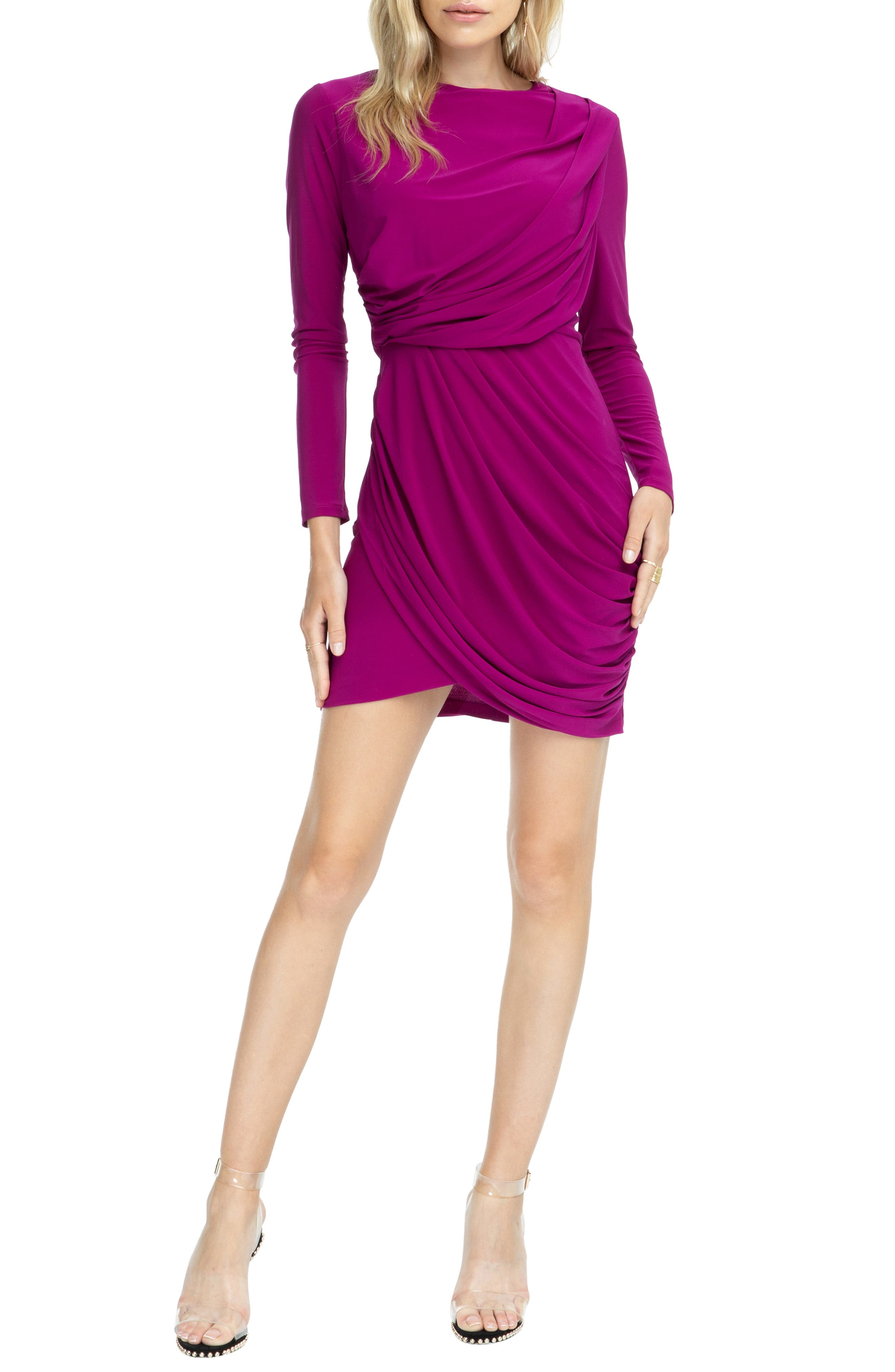 Astr The Label Wrapped & Ruched Blouson Dress, Purple