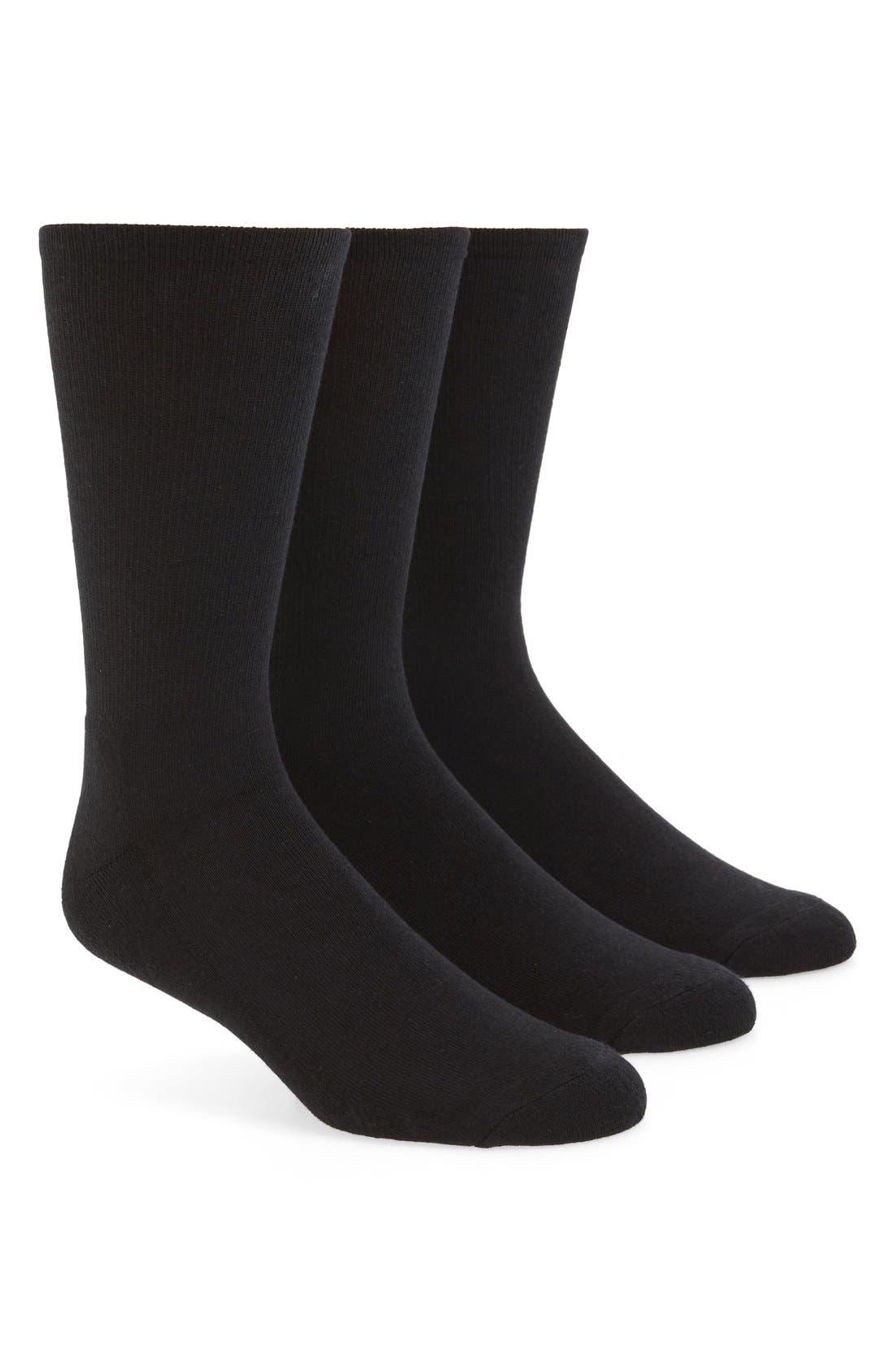3-Pack Cotton Blend Socks,                             Main thumbnail 1, color,                             001