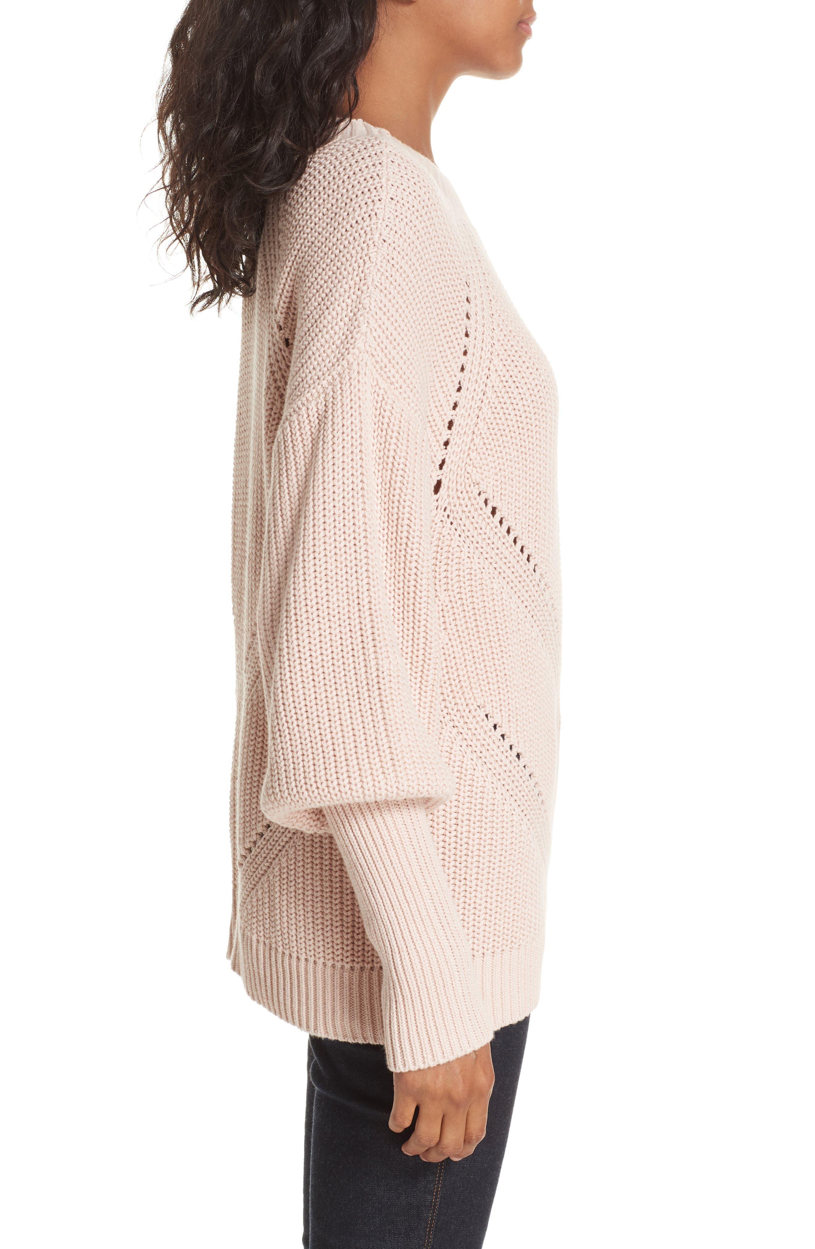 Landyn Blouson Sleeve Sweater,                             Alternate thumbnail 3, color,                             PINK SKY