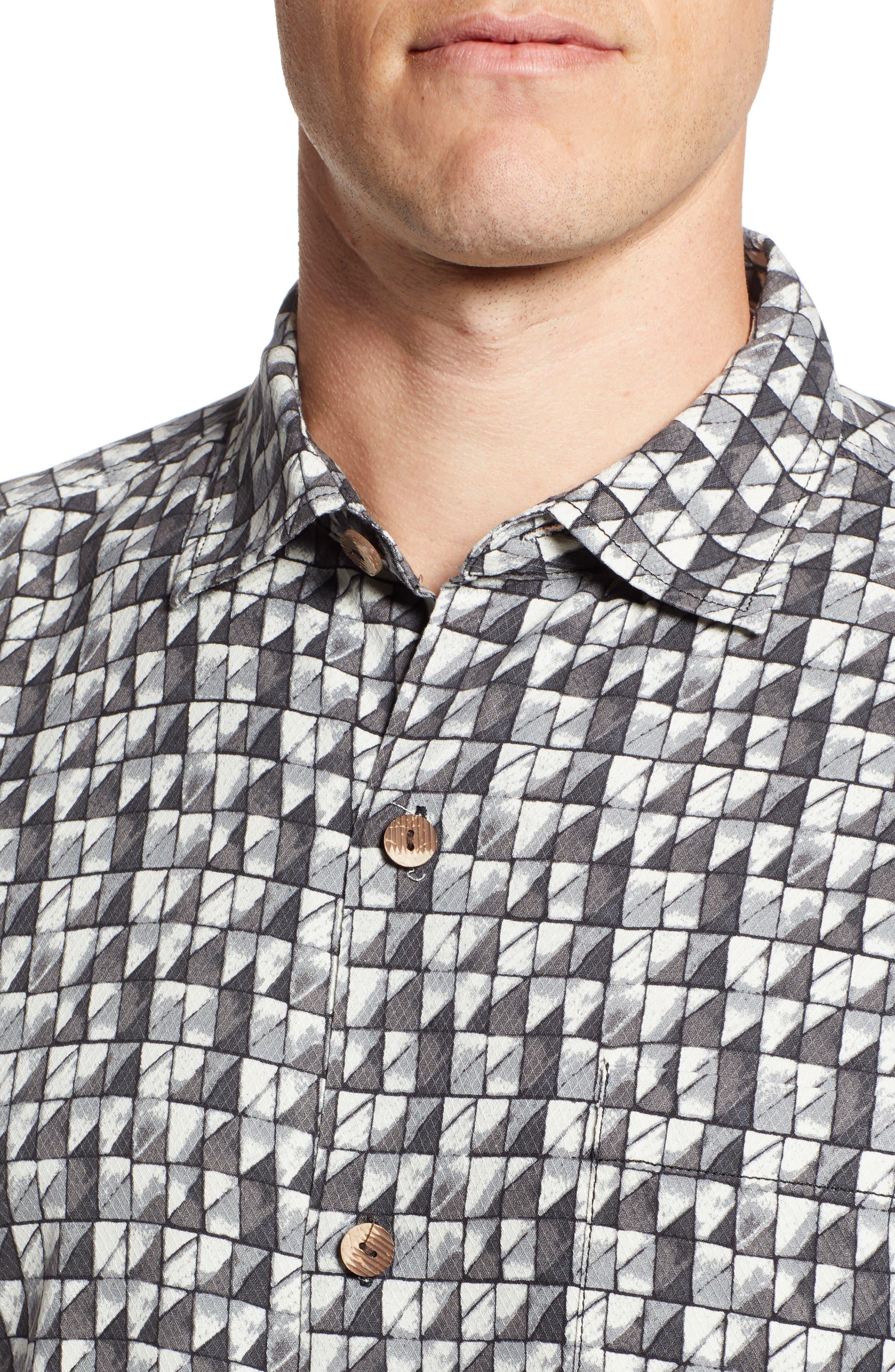Poquito Geo Print Silk Sport Shirt,                             Alternate thumbnail 4, color,                             BLACK