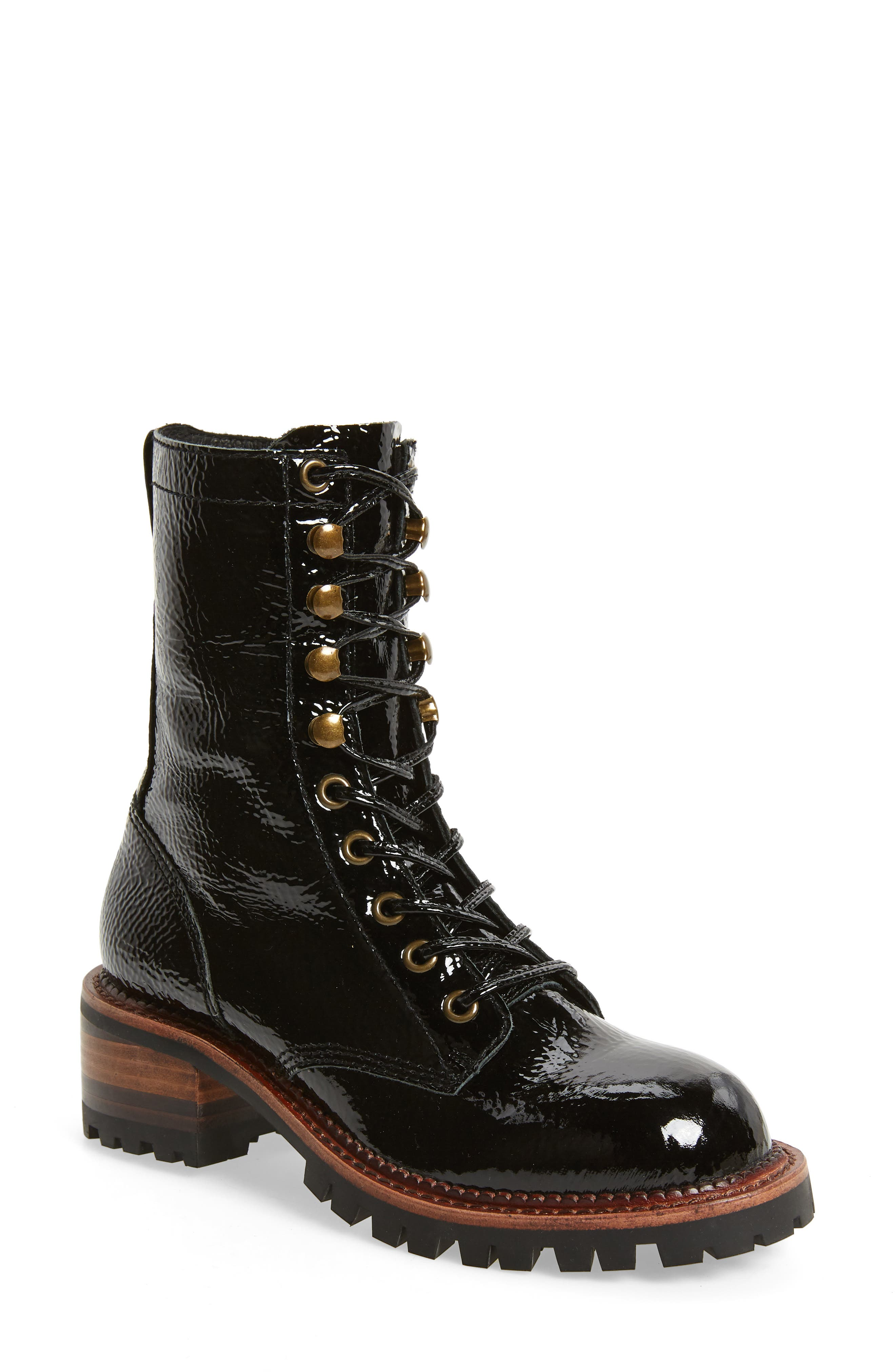 Sycamore Patent Leather Boot, Main, color, BLACK CRINKLE PATENT LEATHER