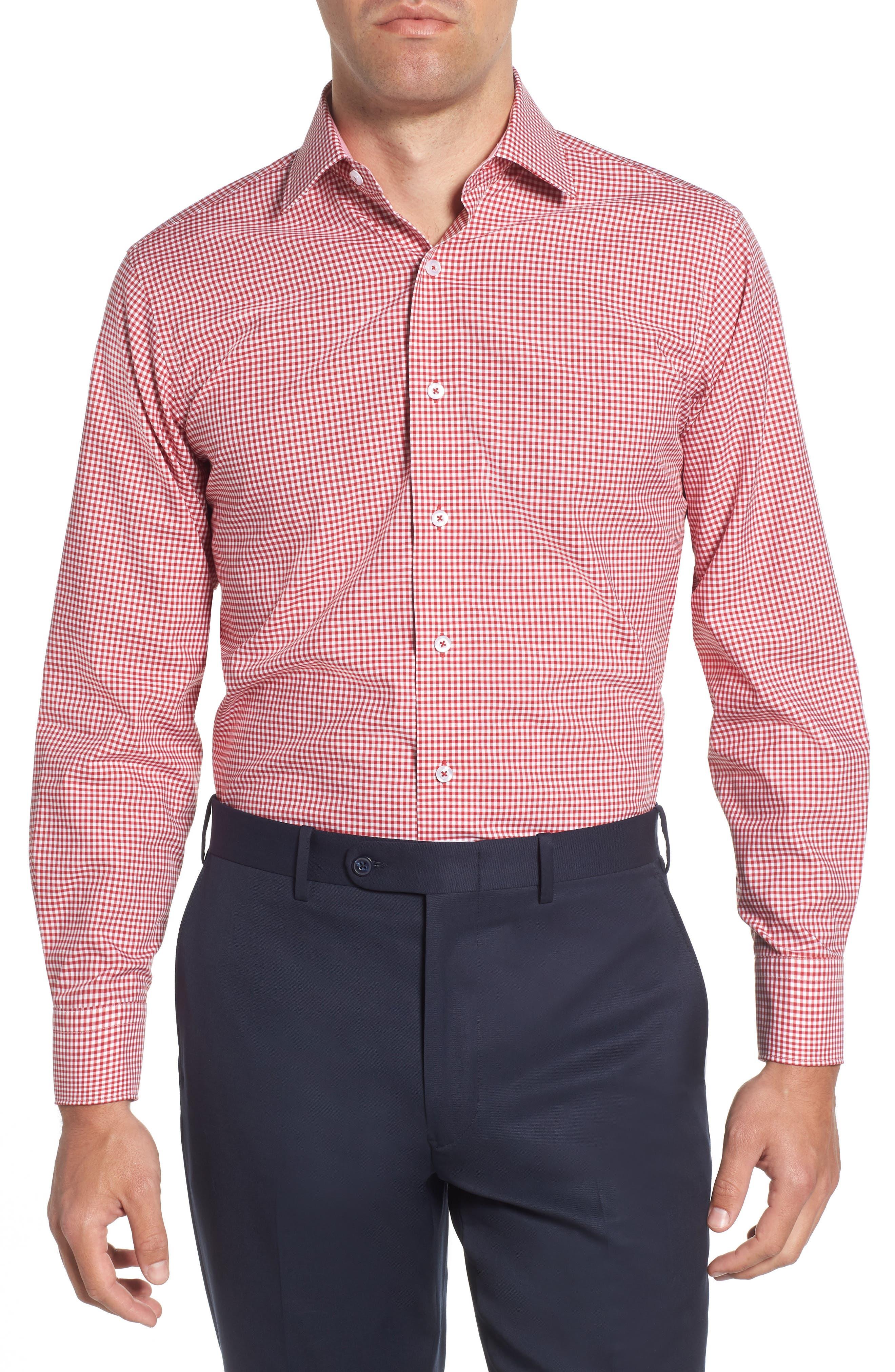 Trim Fit Check Dress Shirt,                         Main,                         color, RED
