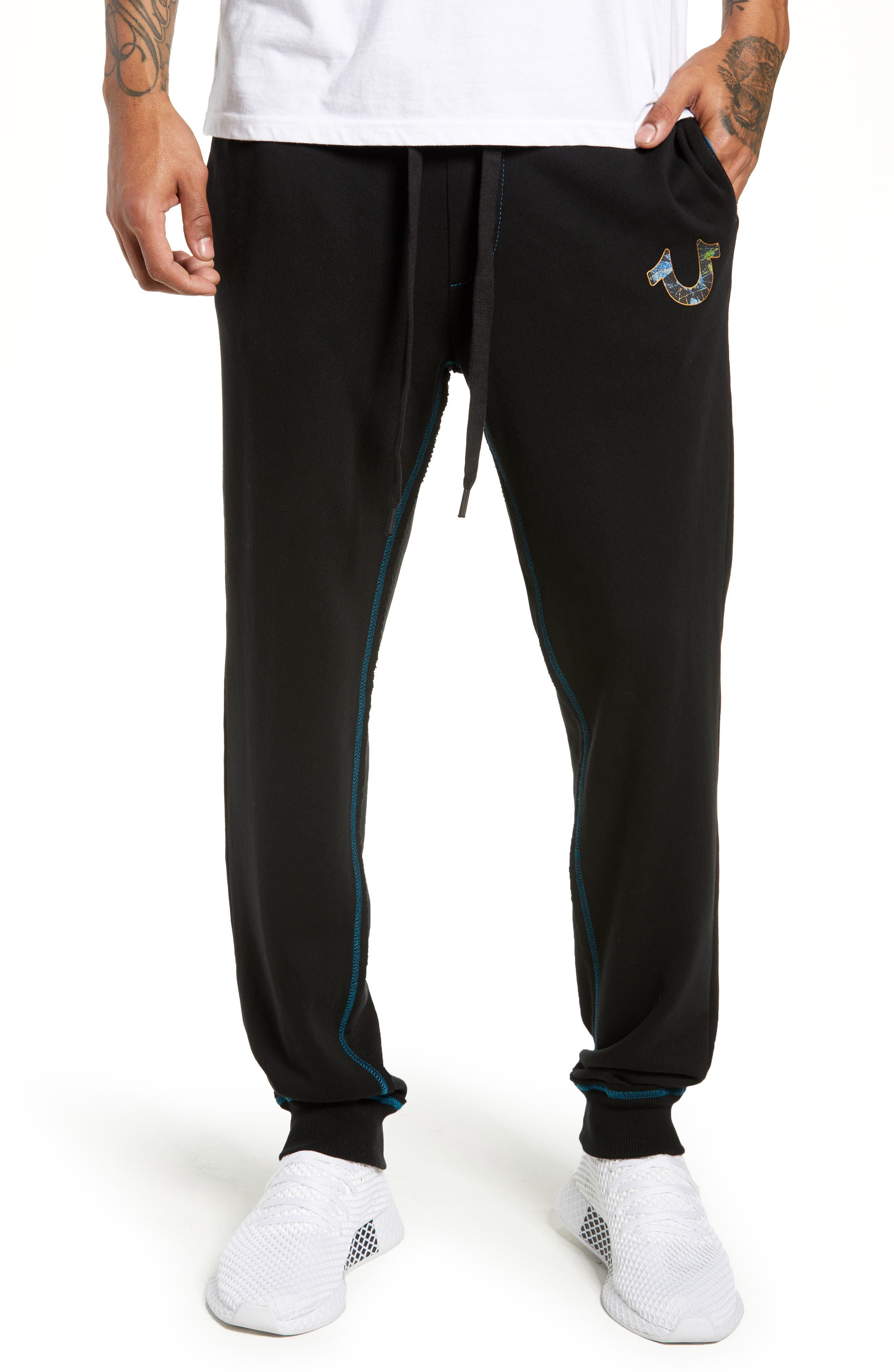 Stained Glass Logo Sweatpants,                         Main,                         color, TRUE BLACK