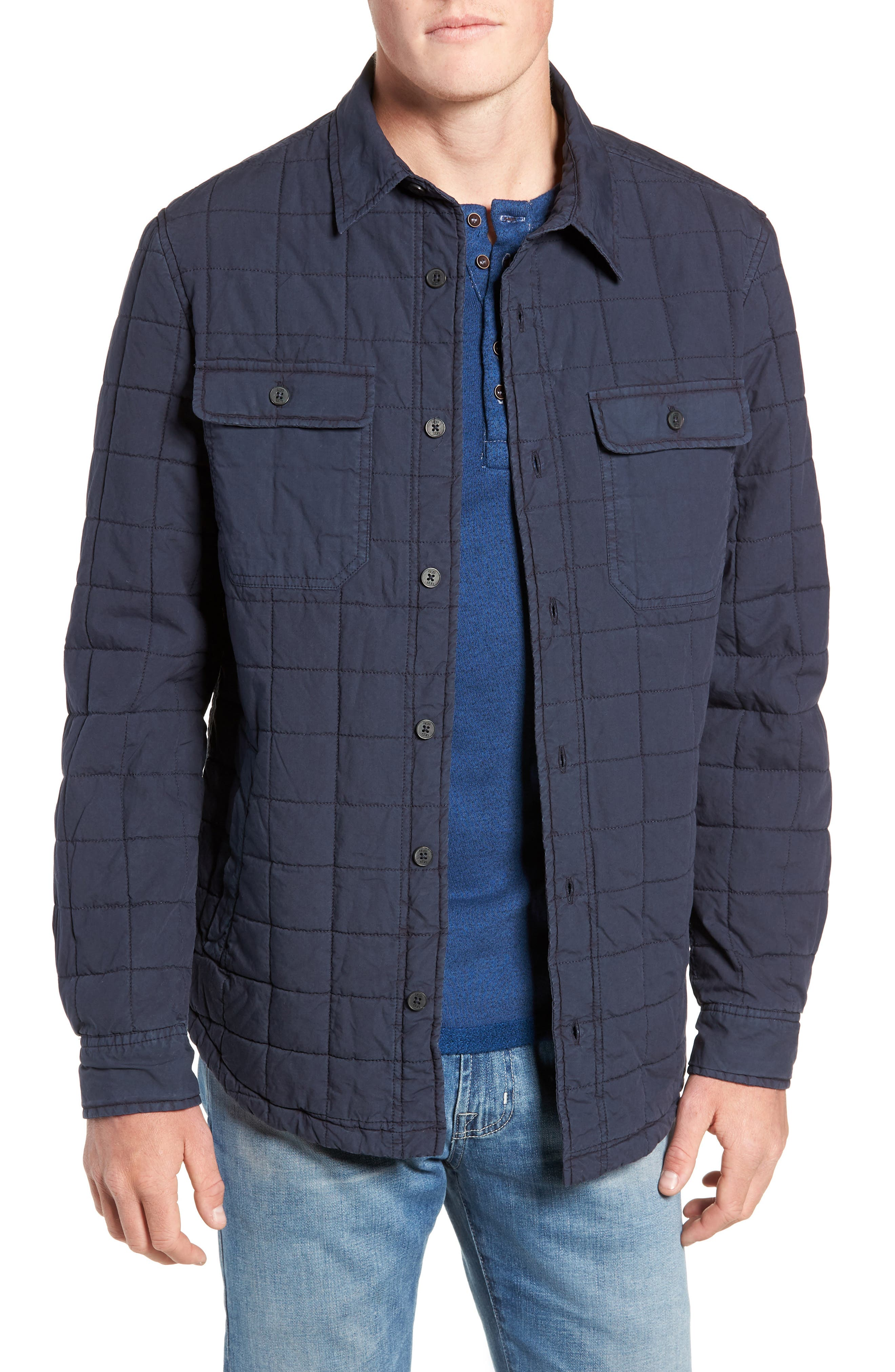 Quilted Shirt Jacket,                         Main,                         color, NAVY