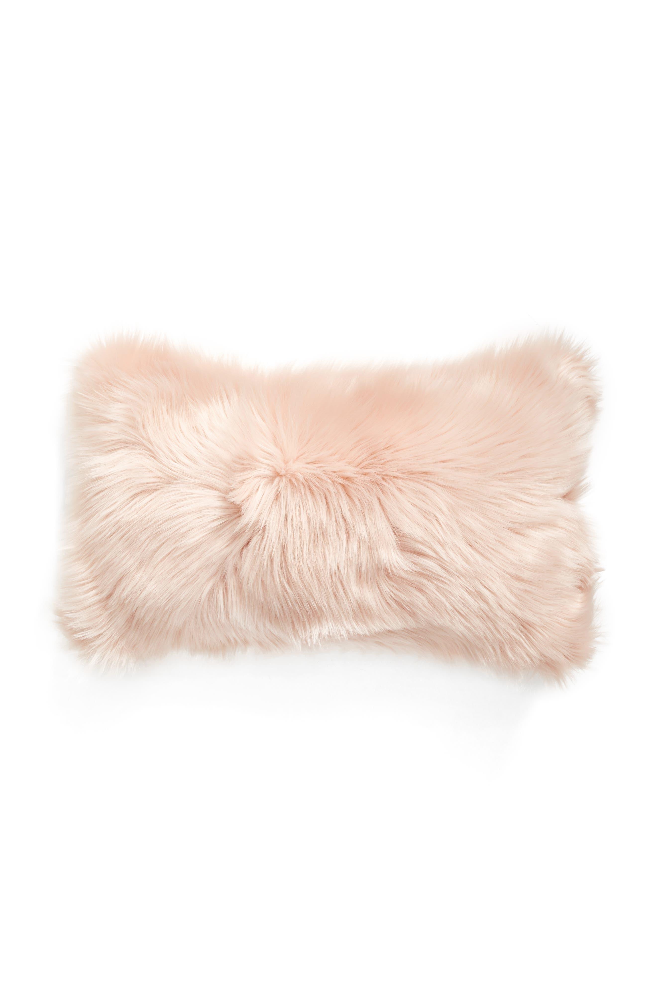 'Sumptuous' Faux Fur Accent Pillow,                             Alternate thumbnail 2, color,                             ROSE