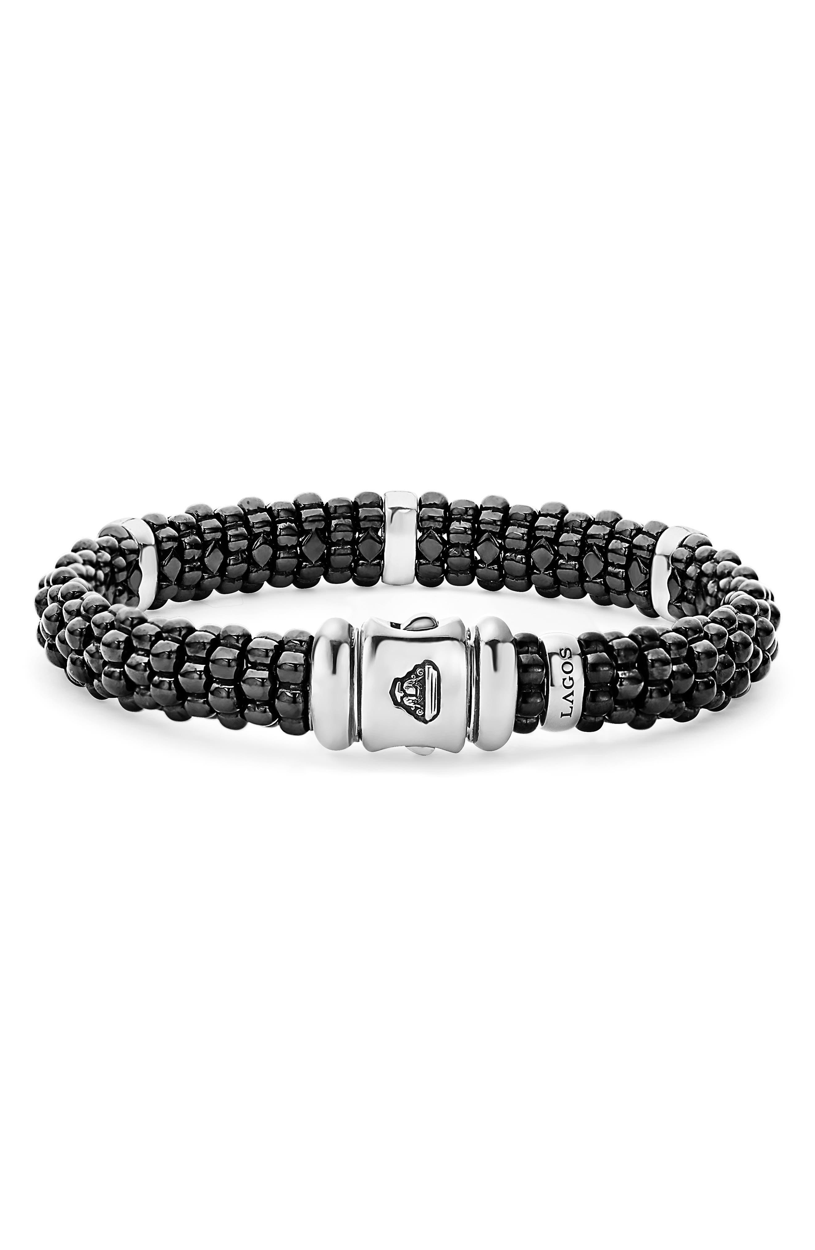 Black Caviar Diamond Bracelet,                             Alternate thumbnail 3, color,                             BLACK/ SILVER