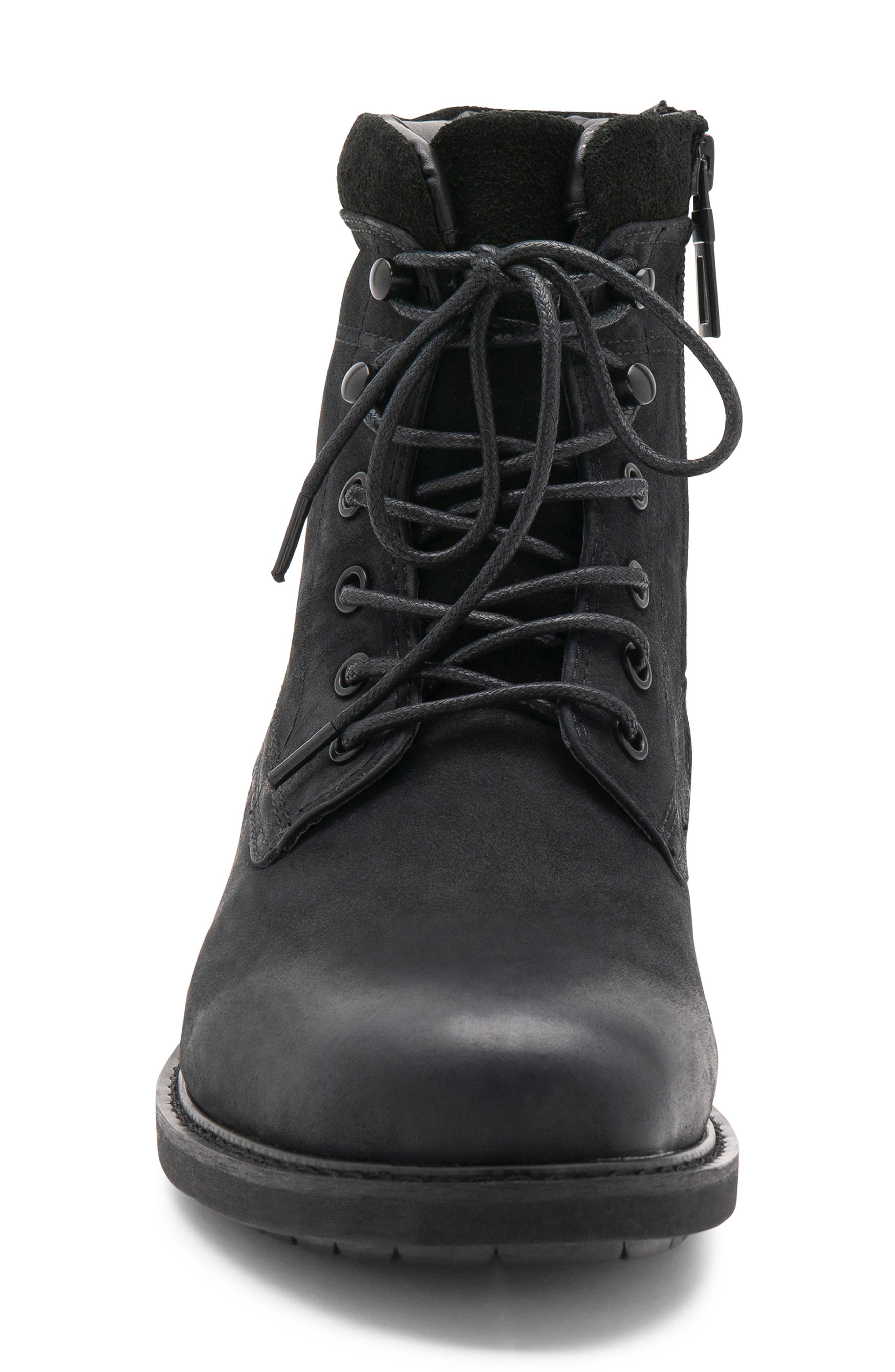 Patton Waterproof Plain Toe Boot,                             Alternate thumbnail 4, color,                             BLACK NUBUCK