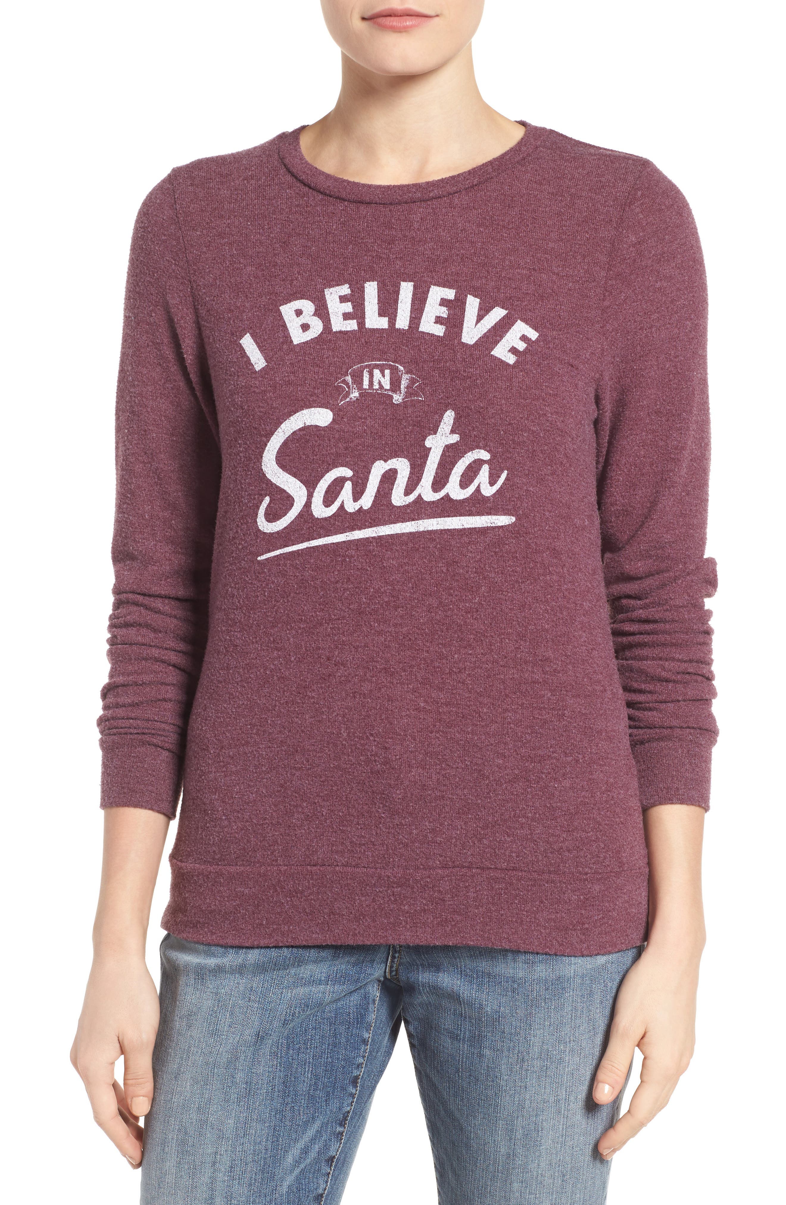 I Believe in Santa Sweatshirt,                             Main thumbnail 1, color,                             930