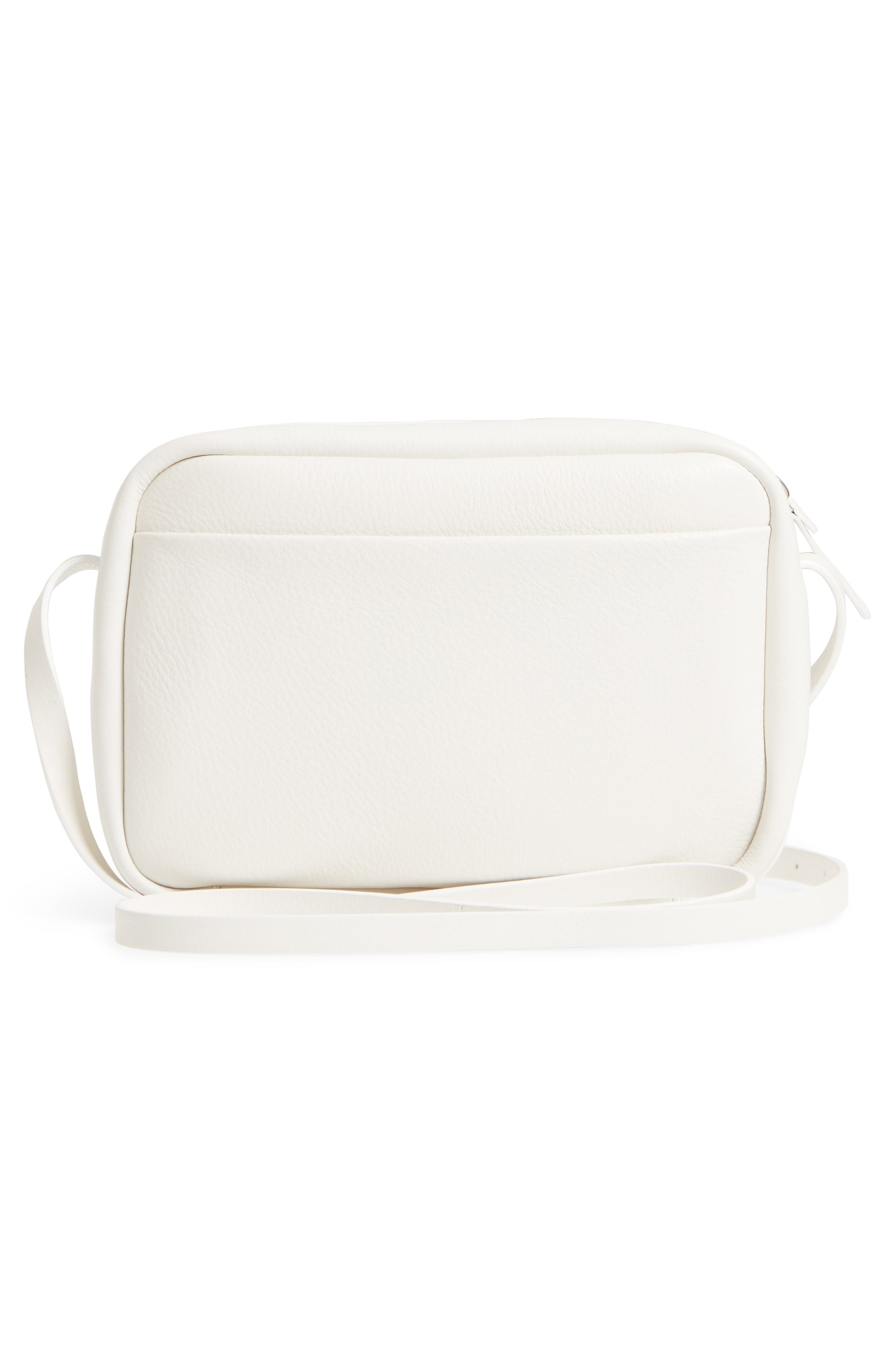 Small Everyday Calfskin Leather Camera Bag,                             Alternate thumbnail 3, color,                             BLANC OPTIQUE/ NOIR
