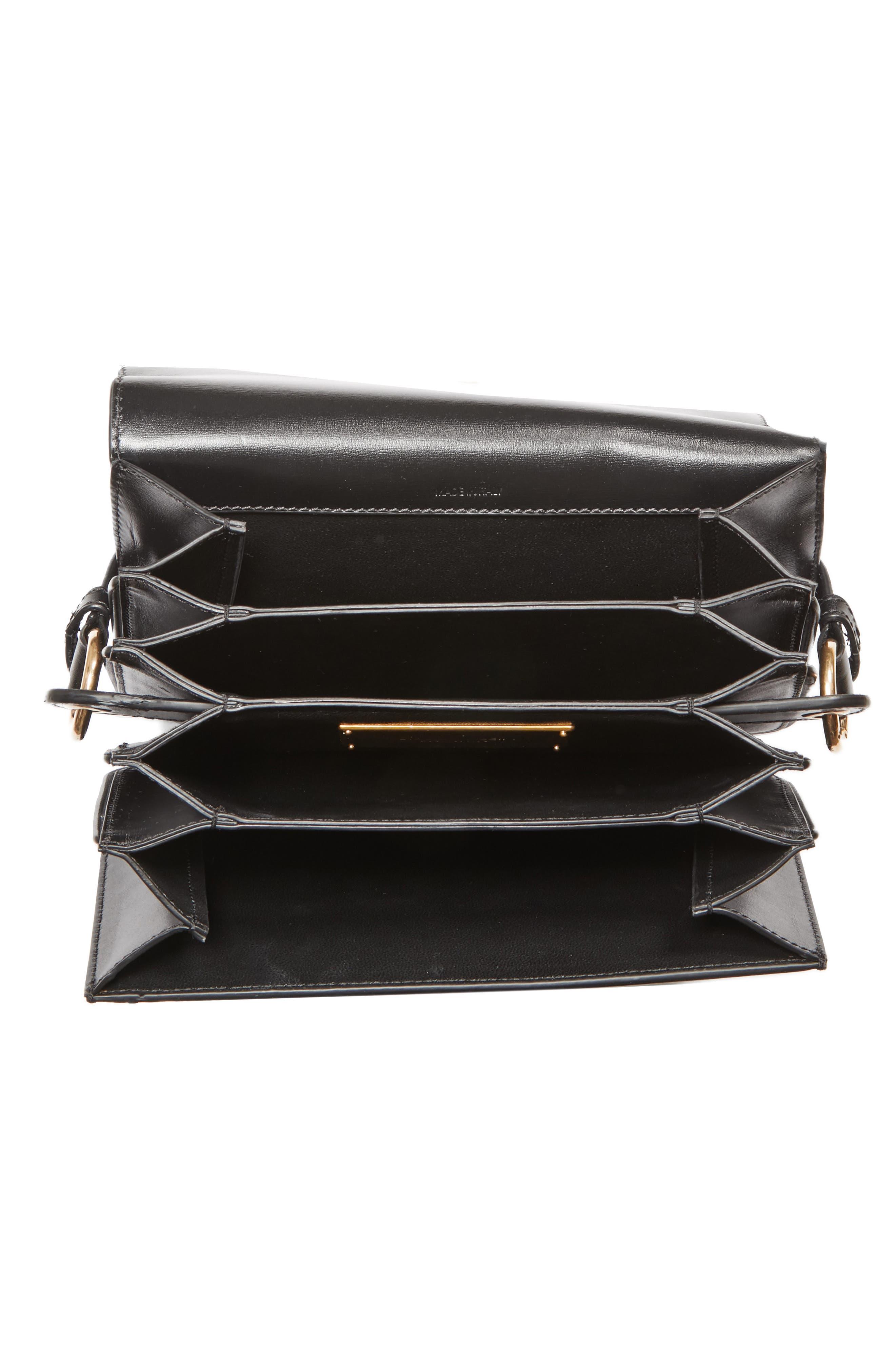 CALVIN KLEIN 209W39NYC Small Round Lock Shoulder Bag,                             Alternate thumbnail 4, color,                             BLACK