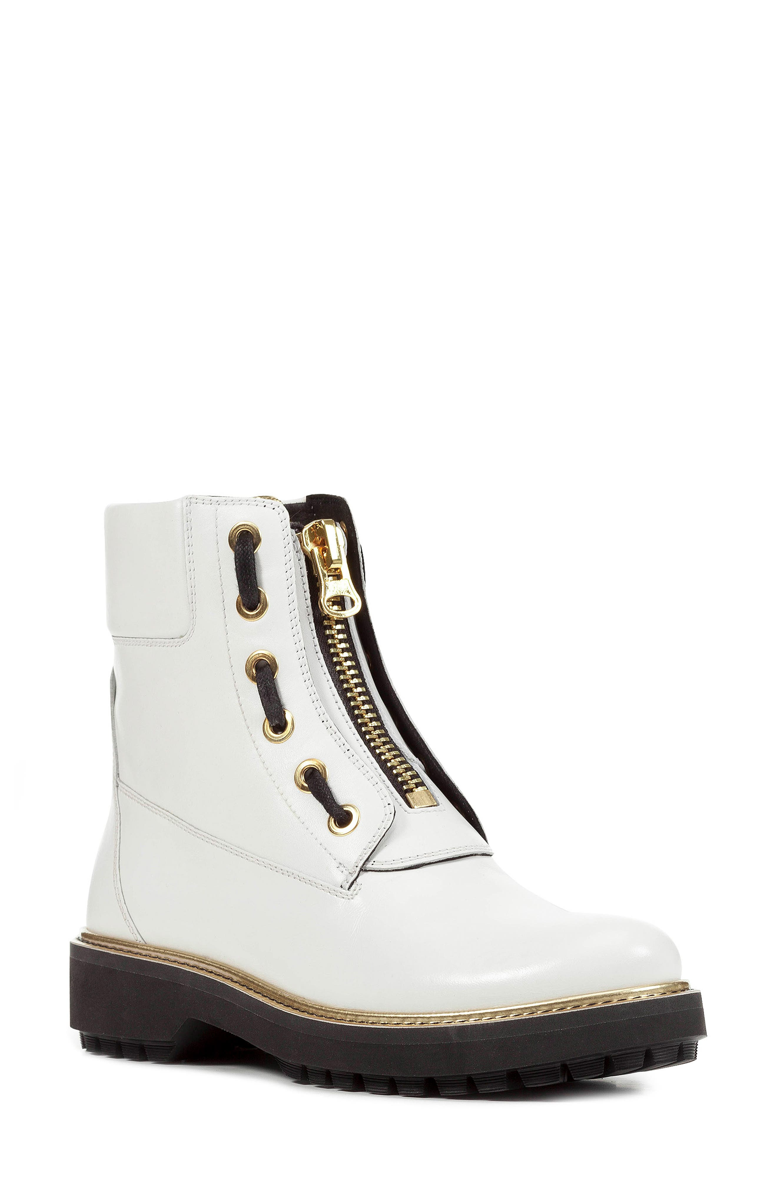 GEOX,                             Asheely Bootie,                             Main thumbnail 1, color,                             WHITE LEATHER