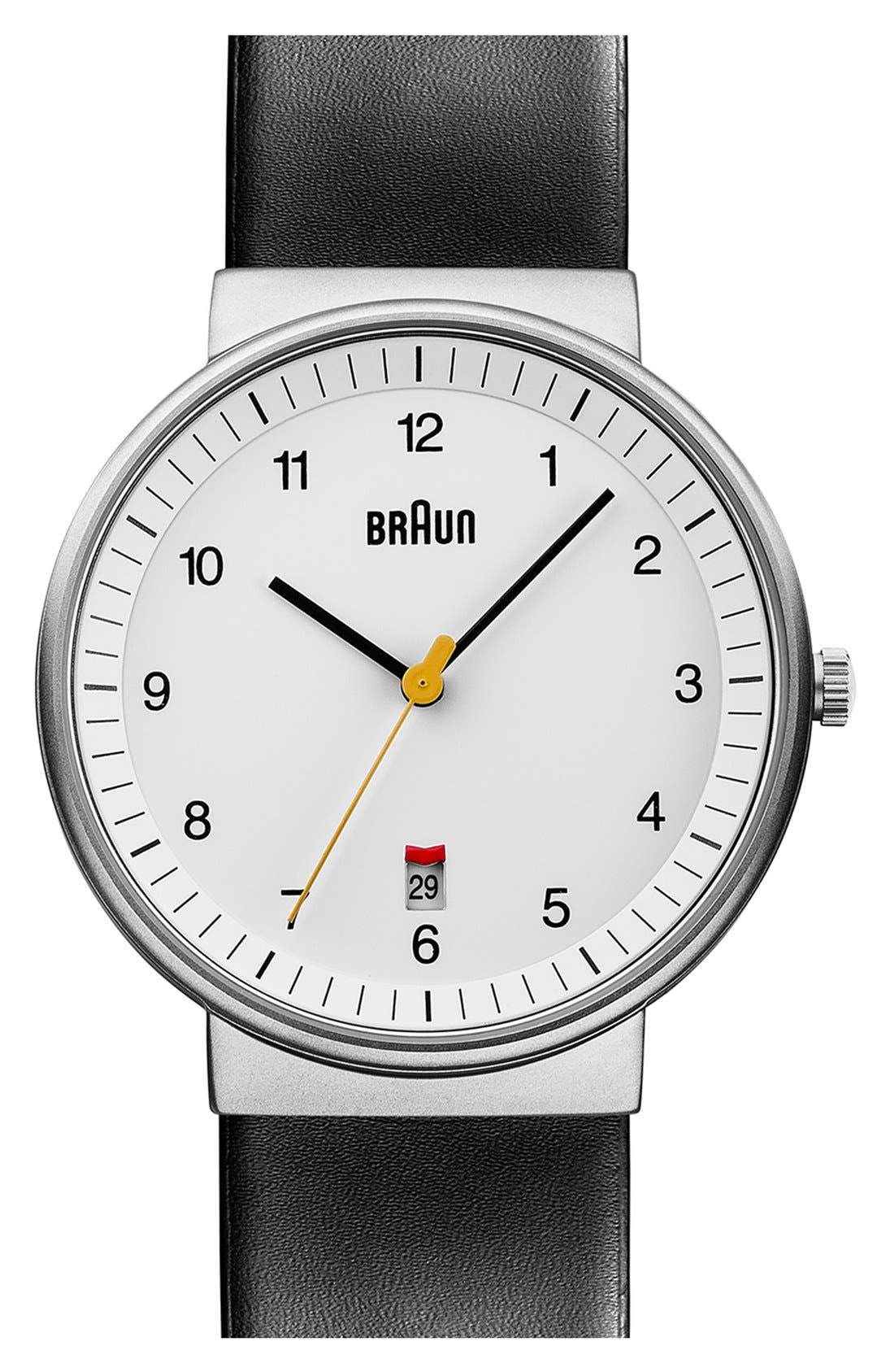 'Classic' Leather Strap Watch, 40mm,                         Main,                         color, BLACK/ WHITE/ SILVER
