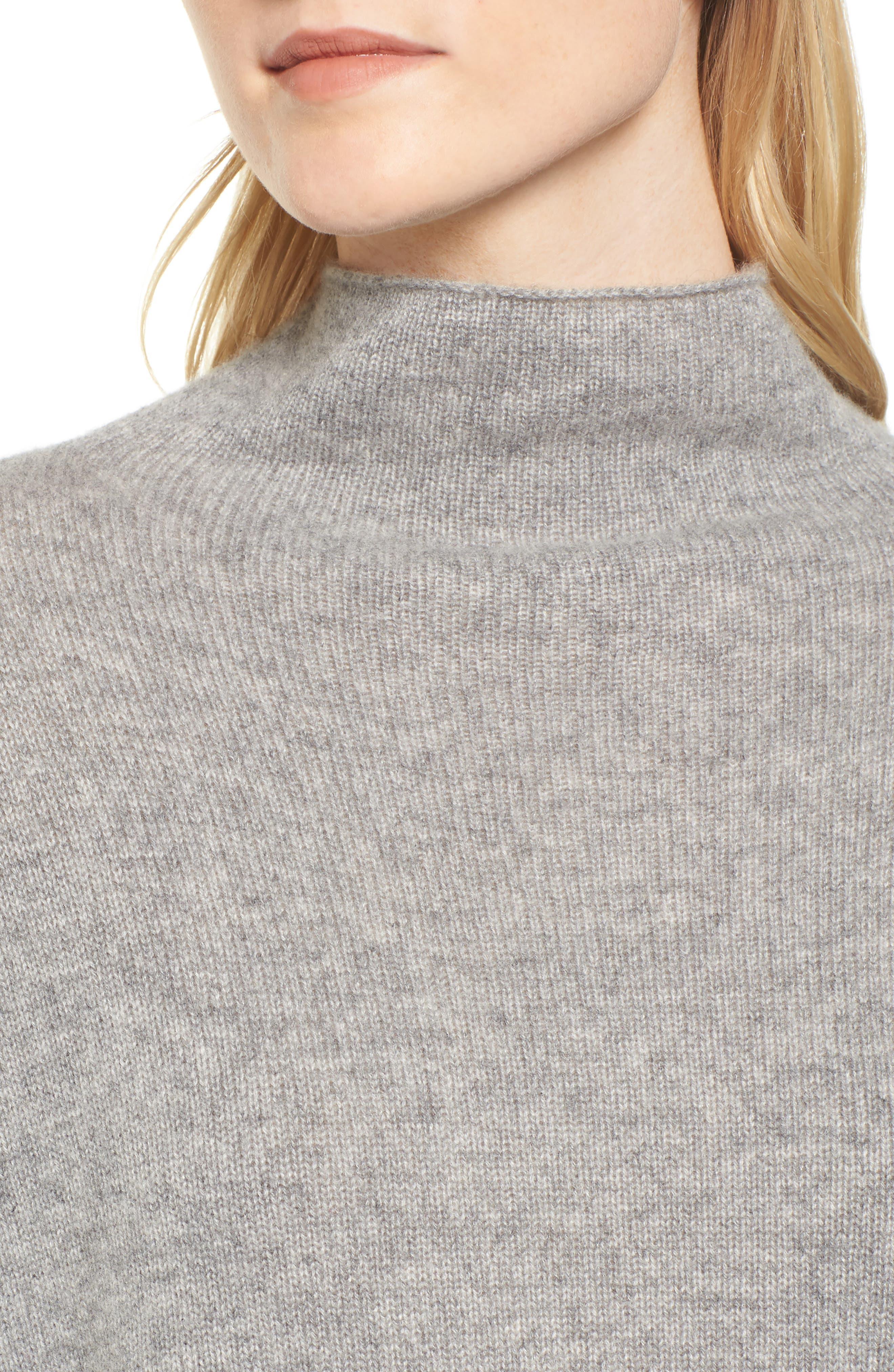 Mock Neck Cashmere Sweater,                             Alternate thumbnail 4, color,                             086