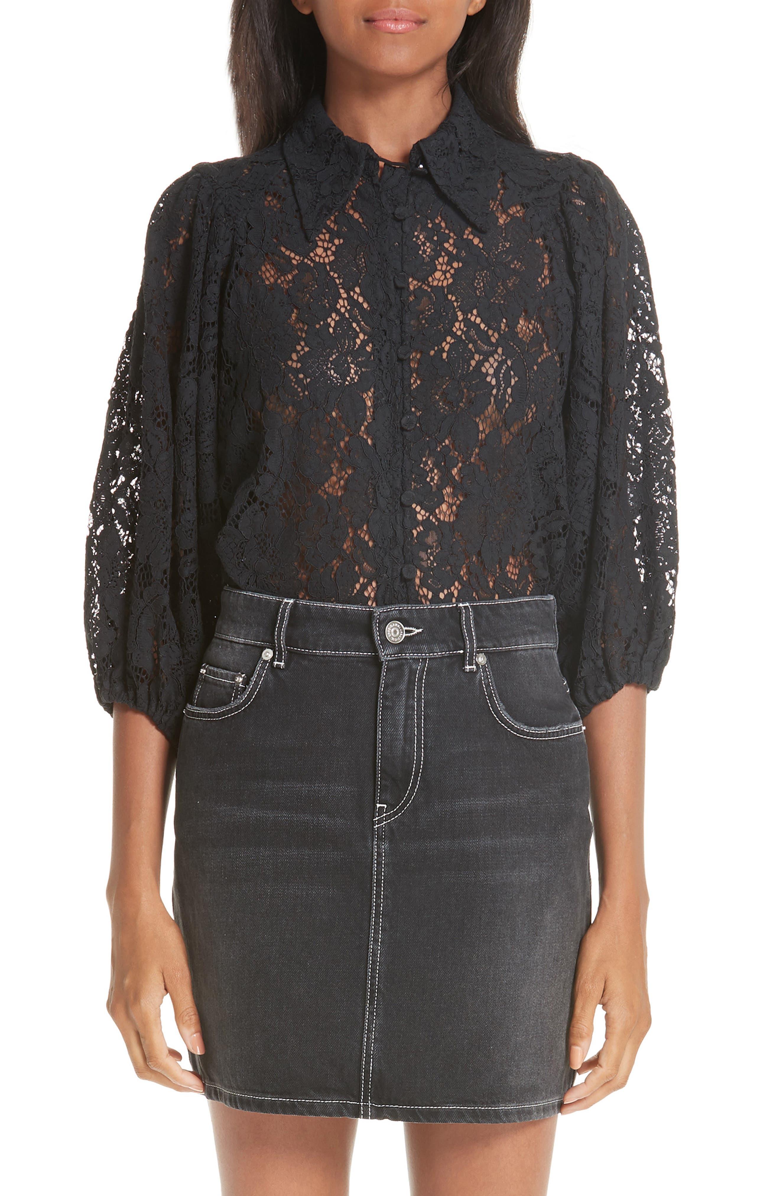 Cotton Blend Lace Top,                         Main,                         color, BLACK 099