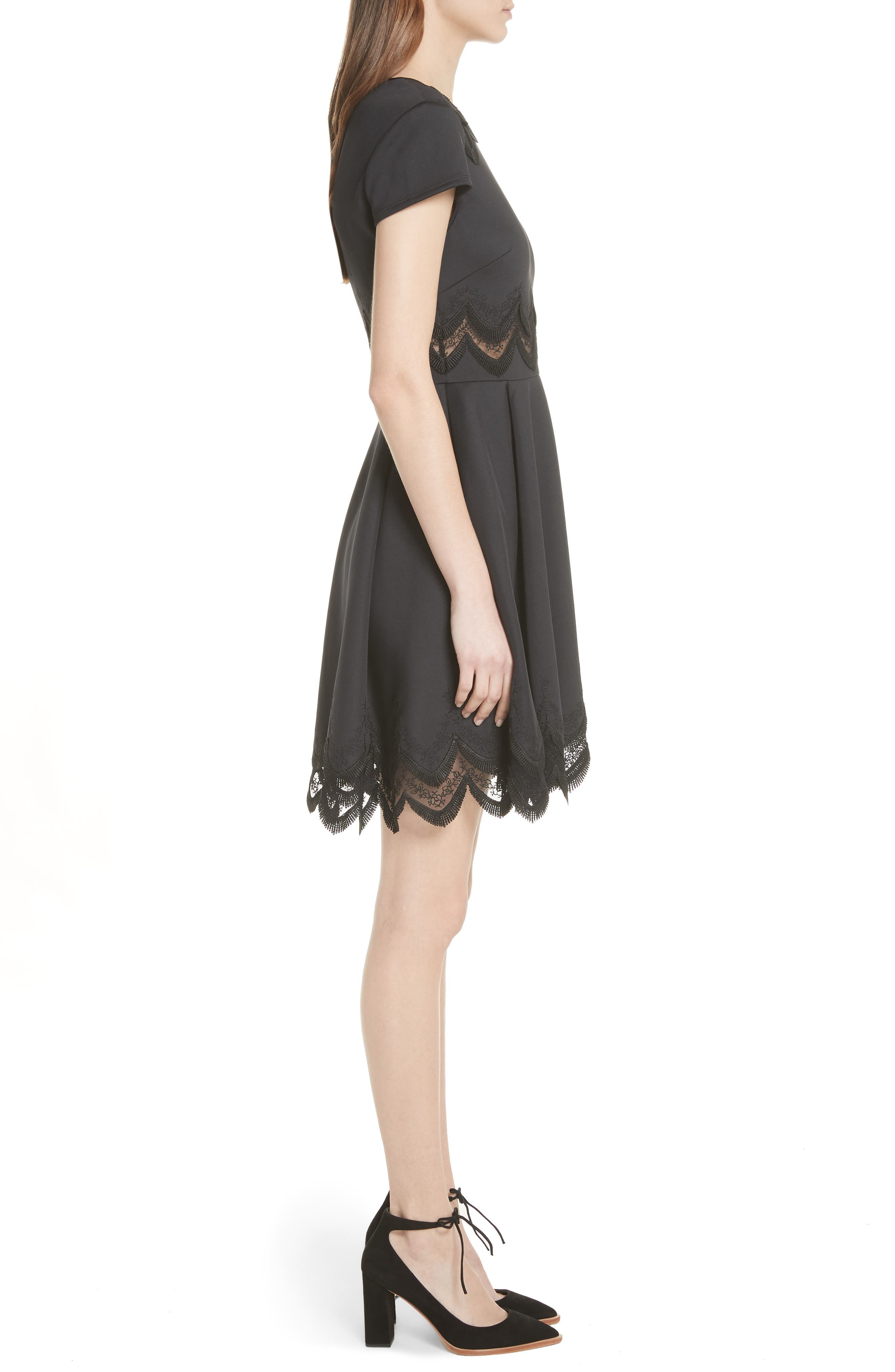 Embroidered Cap Sleeve Skater Dress,                             Alternate thumbnail 3, color,                             001
