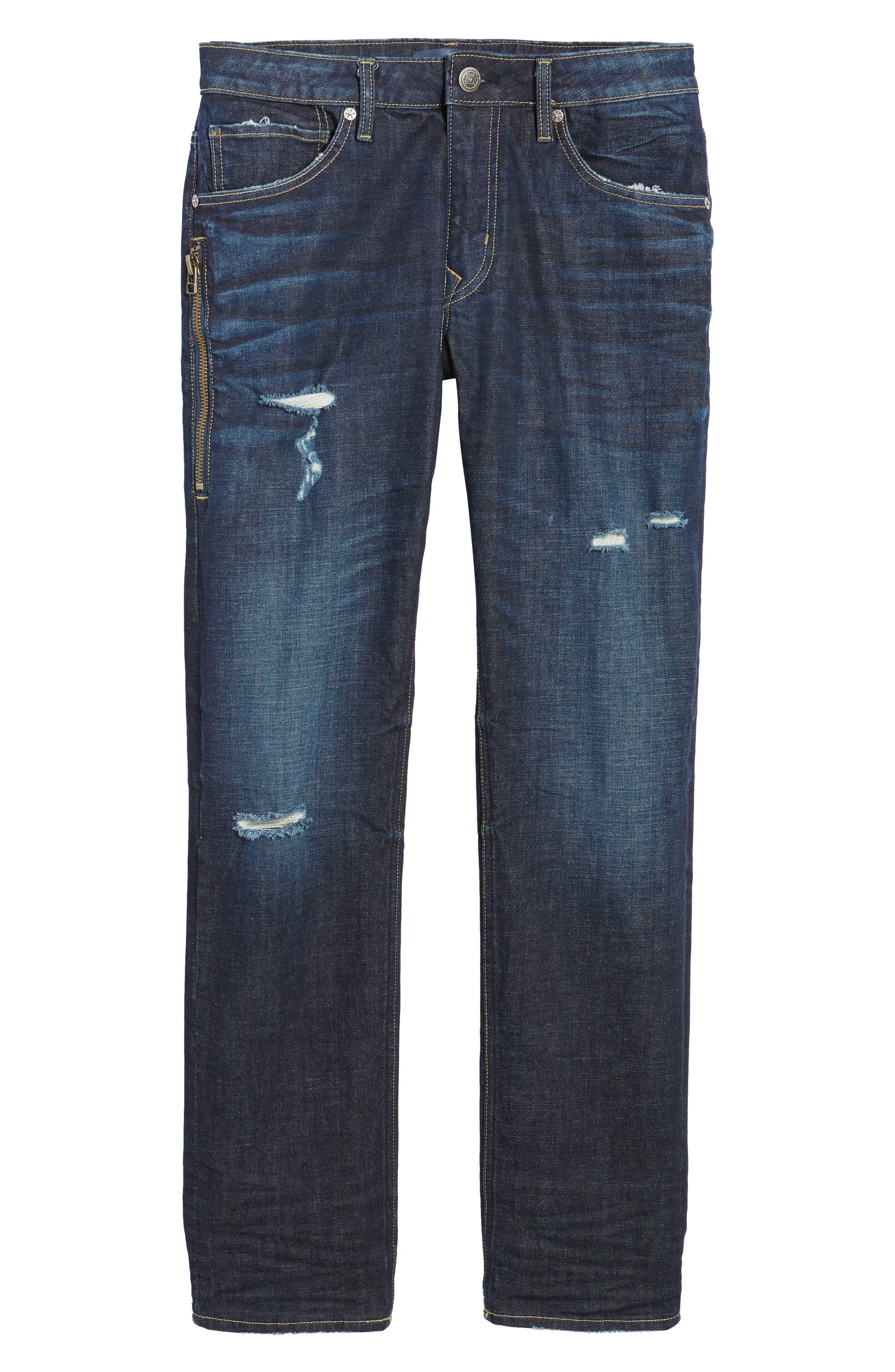 Slim Straight Leg Jeans,                             Alternate thumbnail 6, color,                             DARK WASH