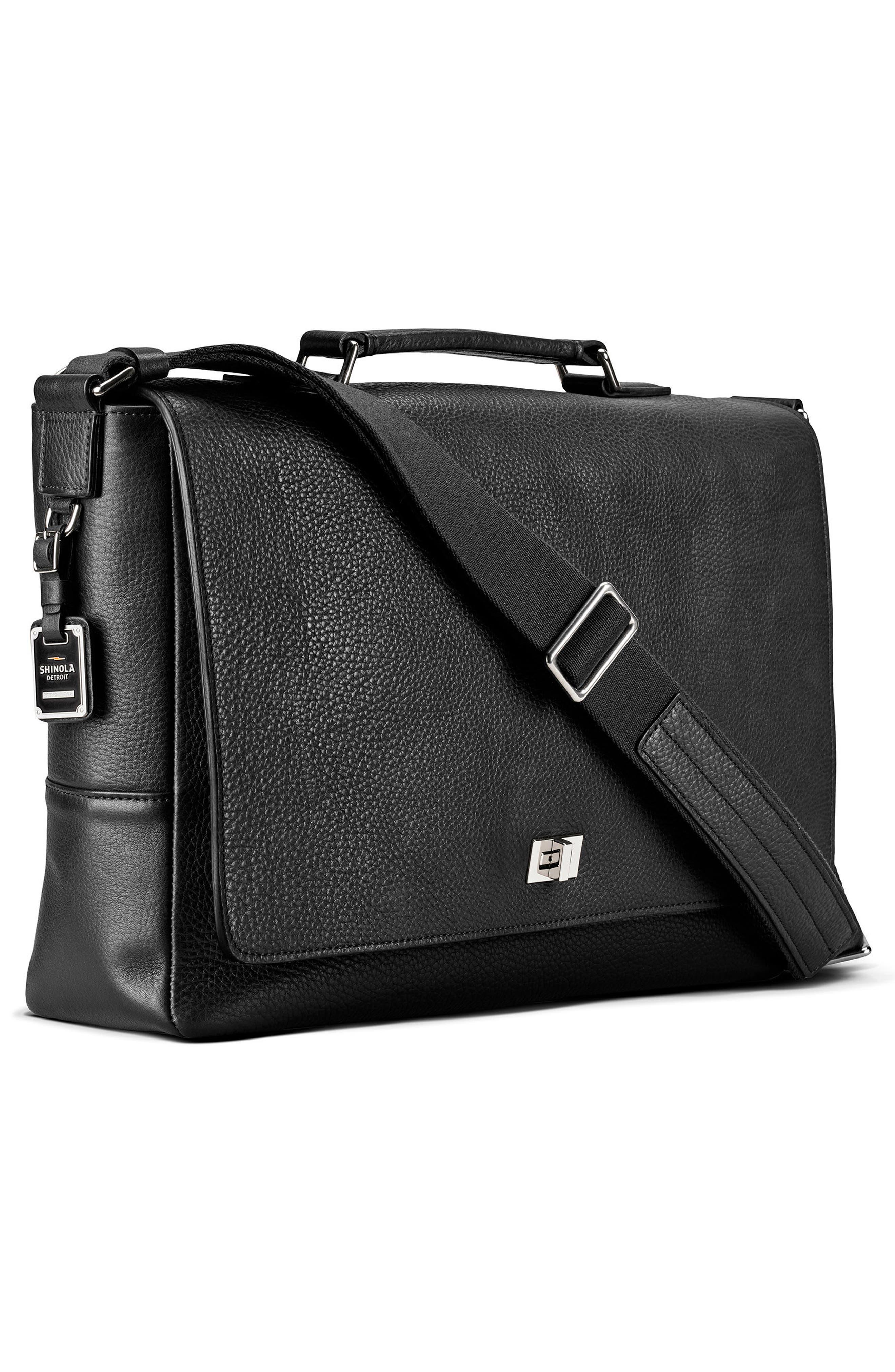 Leather Messenger Bag,                             Alternate thumbnail 4, color,                             BLACK