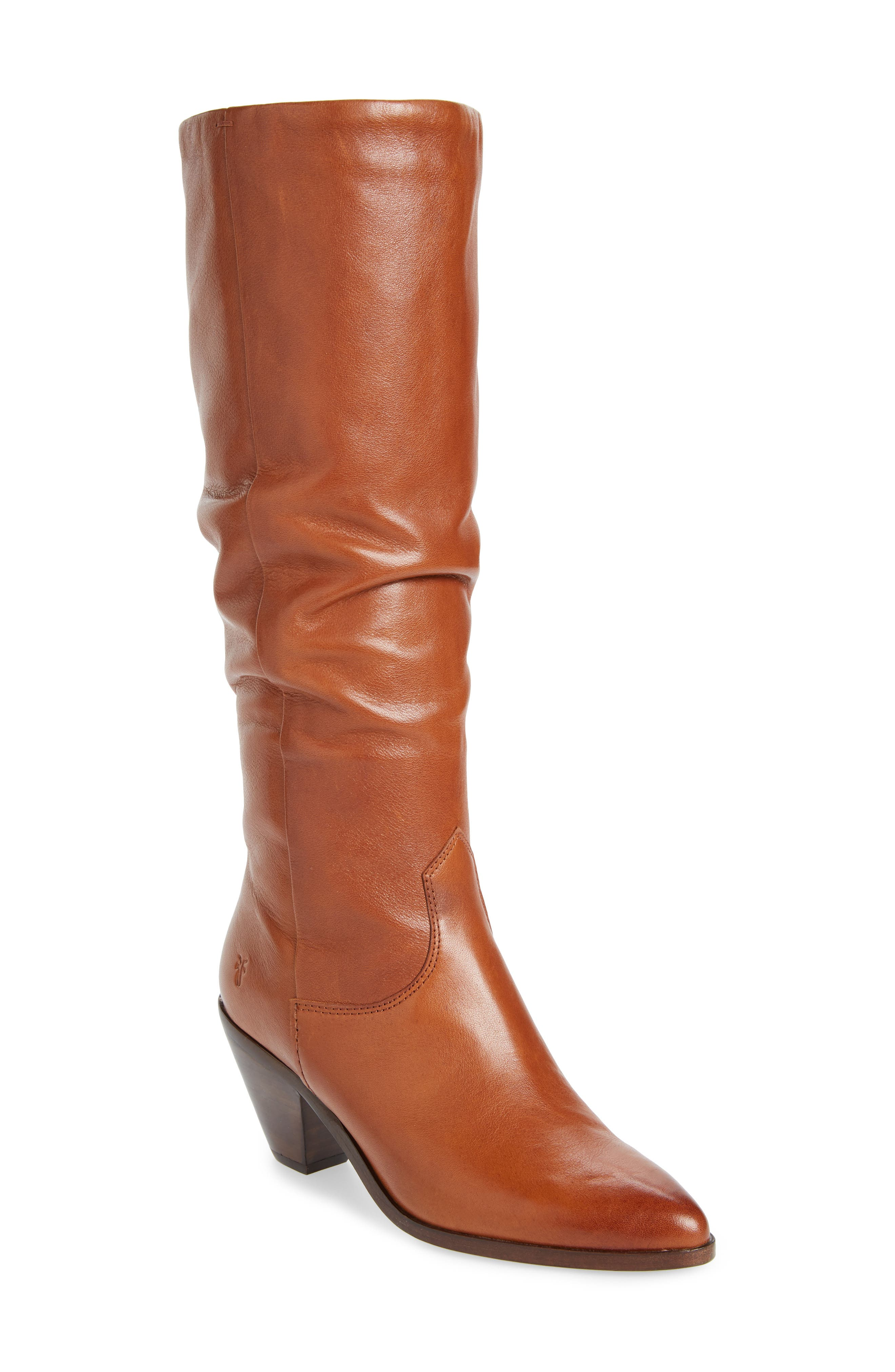 Women'S Lila Leather Slouch High-Heel Boots in Saddle Leather