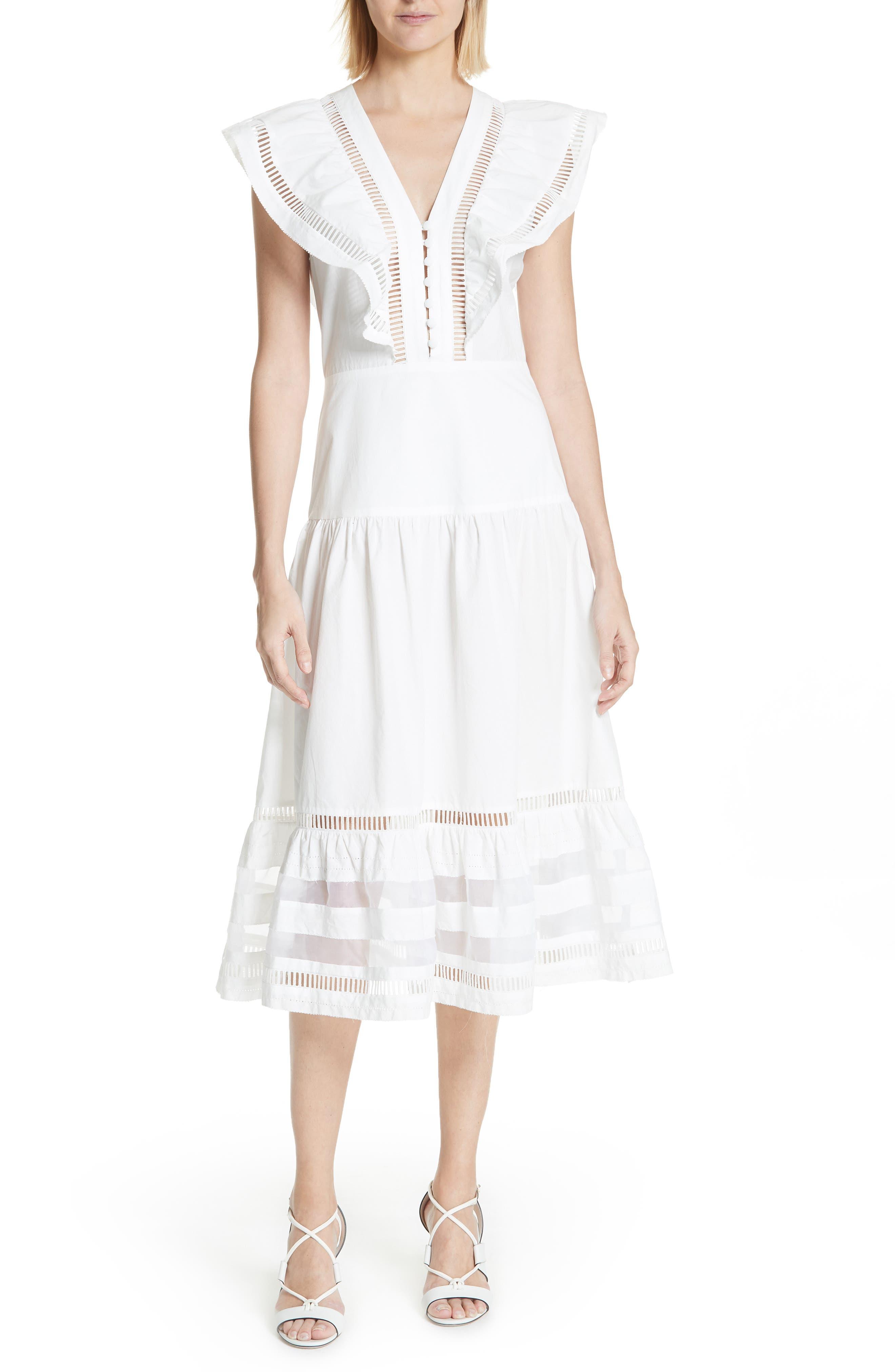 Capri Ladder Stitch Trim Midi Dress,                             Main thumbnail 1, color,                             903