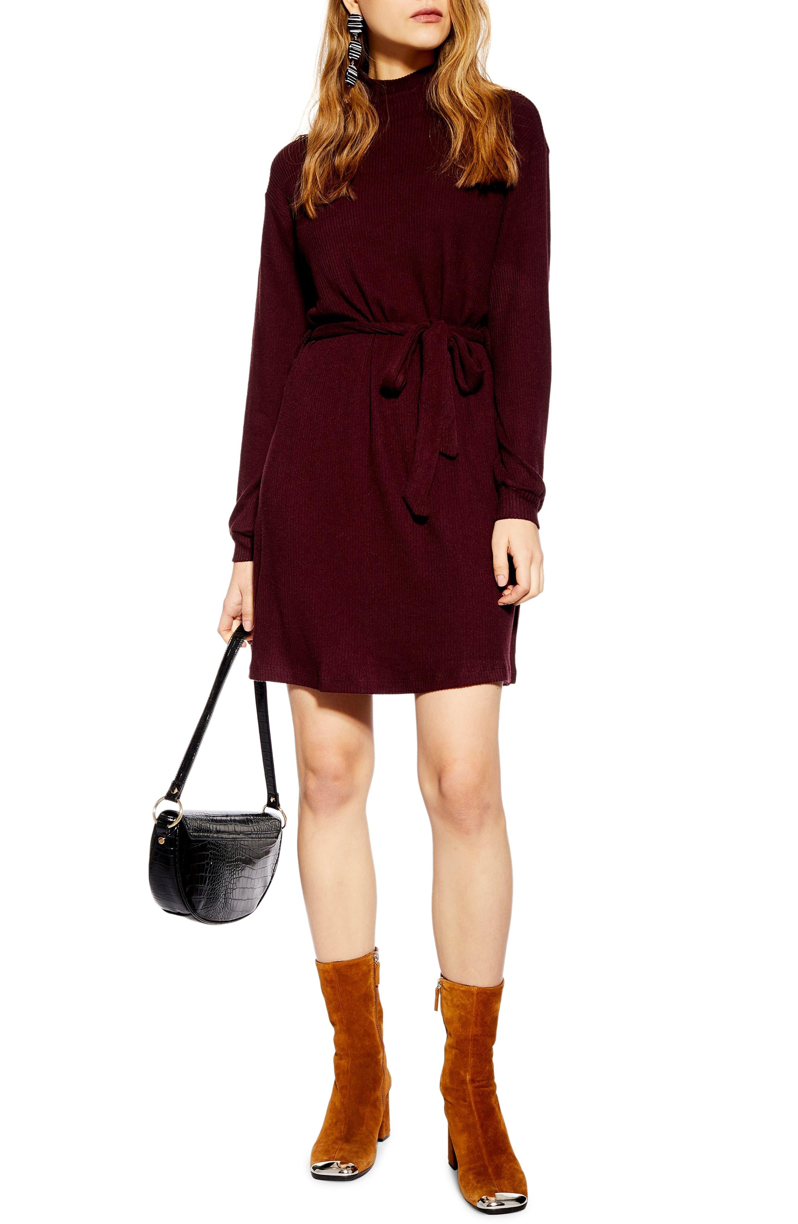 Topshop Belted Minidress, US (fits like 0) - Purple