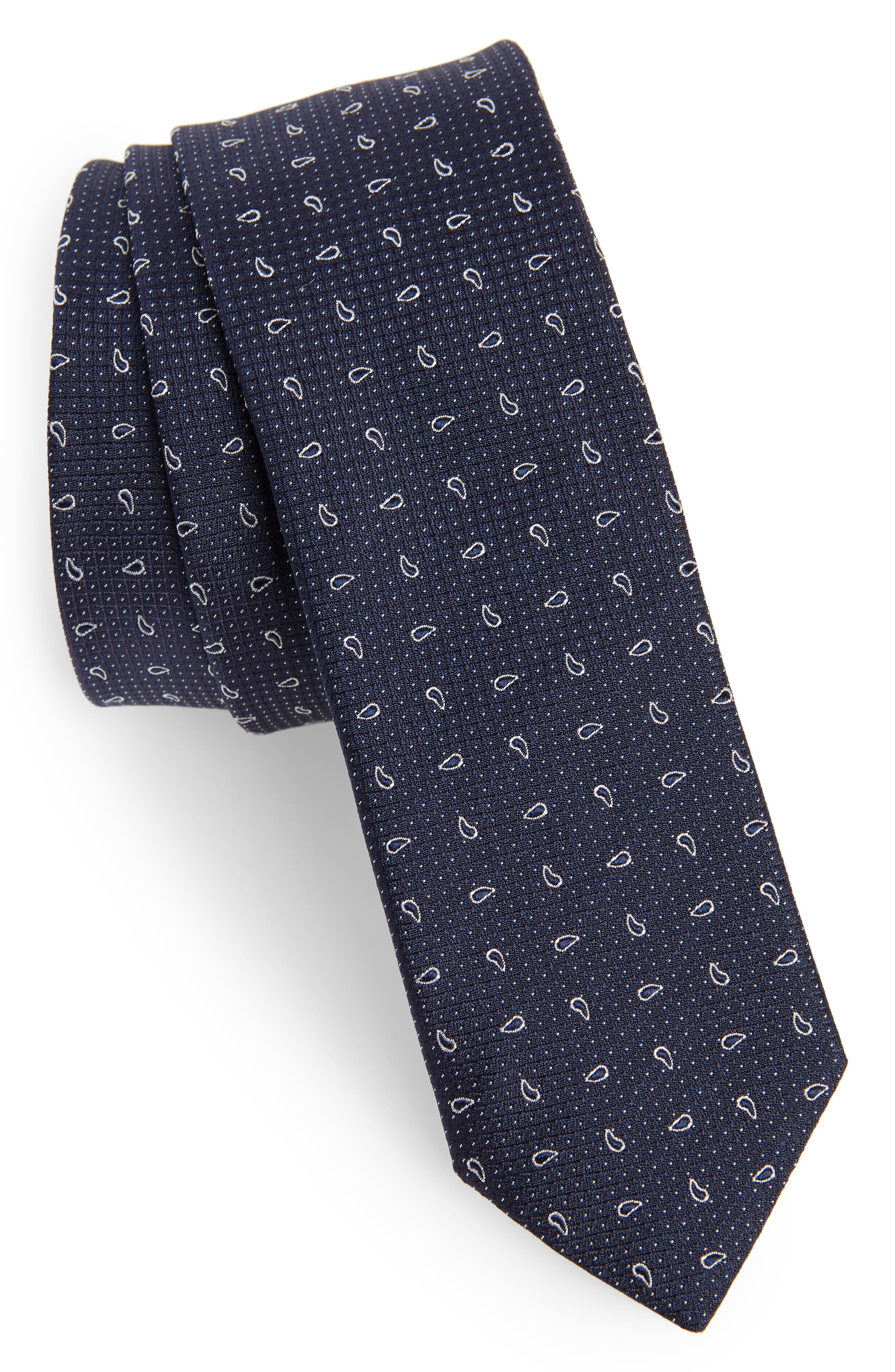 Paisley Silk Tie,                         Main,                         color, NAVY BLUE