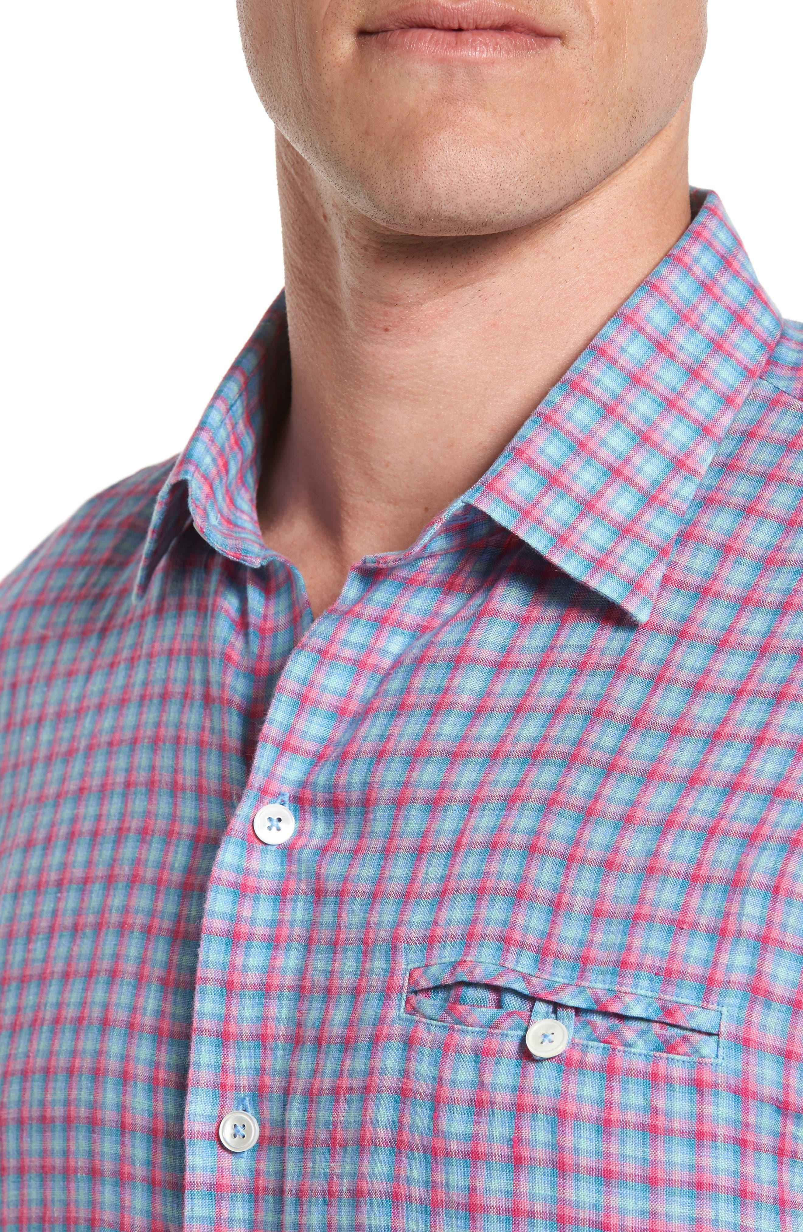 Althoff Plaid Linen Sport Shirt,                             Alternate thumbnail 4, color,                             PINK