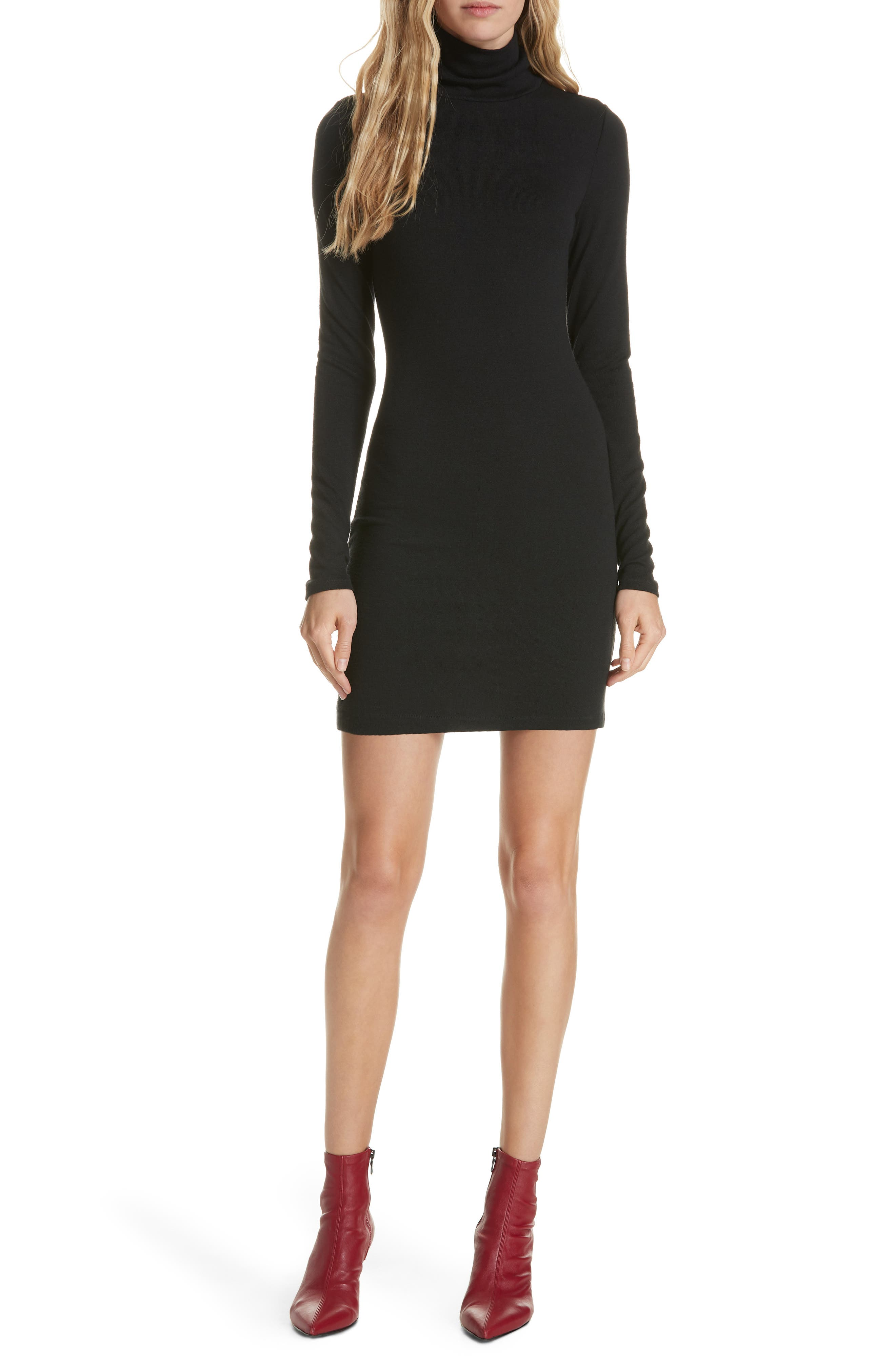 Landon Turtleneck Minidress,                         Main,                         color, BLACK