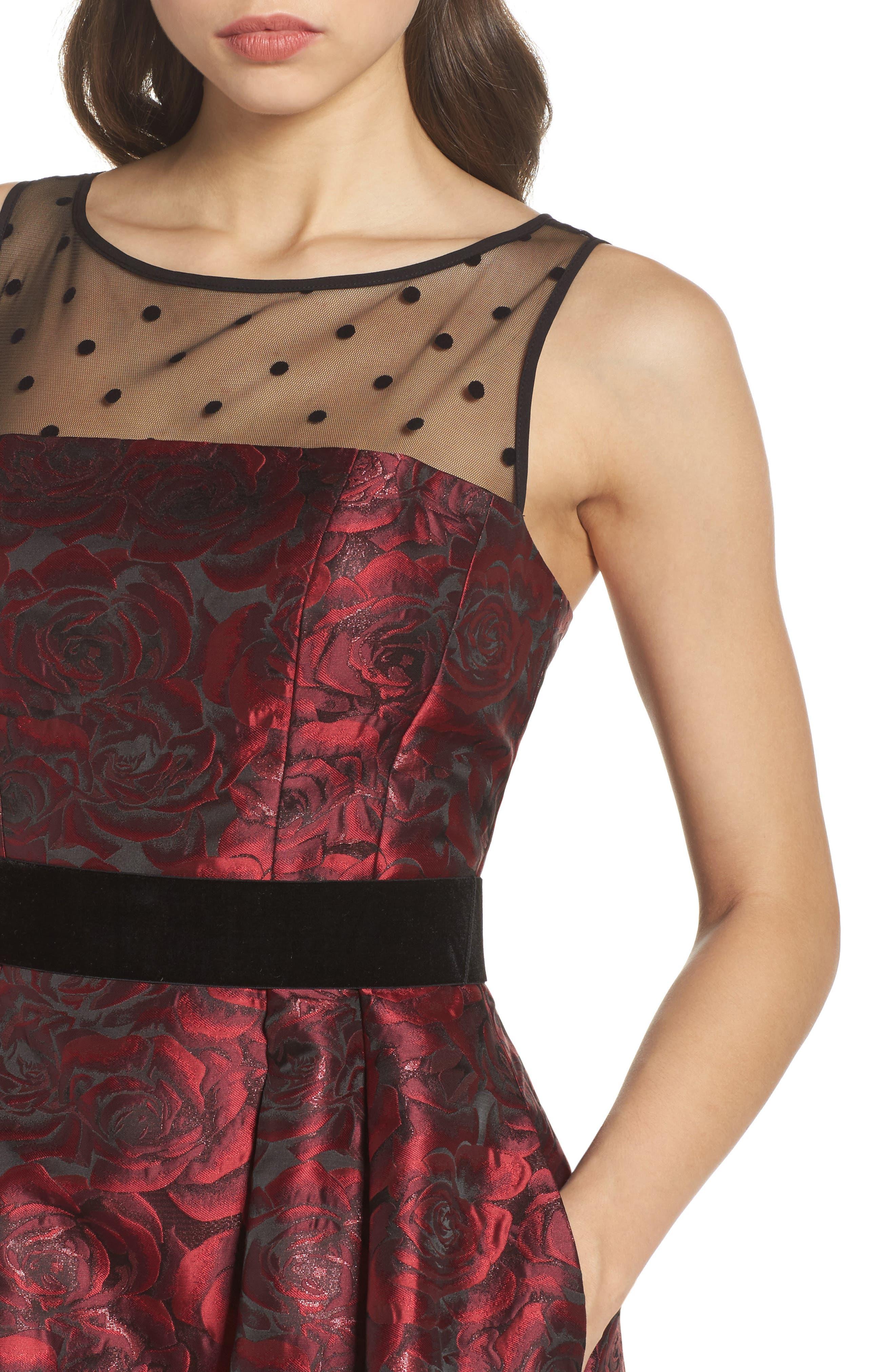 Jacquard Fit & Flare Dress,                             Alternate thumbnail 4, color,                             614