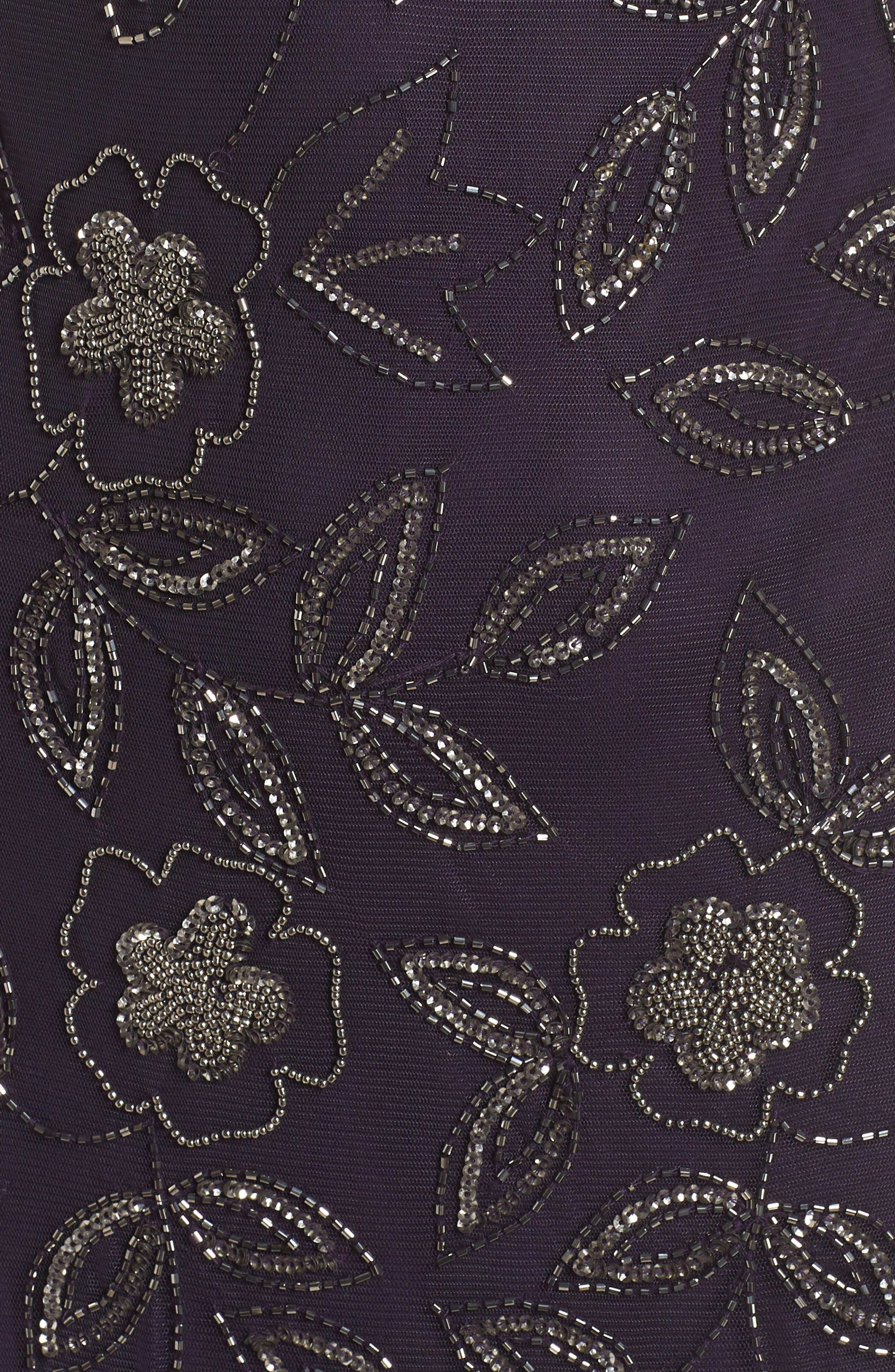 Beaded Godet Gown,                             Alternate thumbnail 5, color,                             EGGPLANT