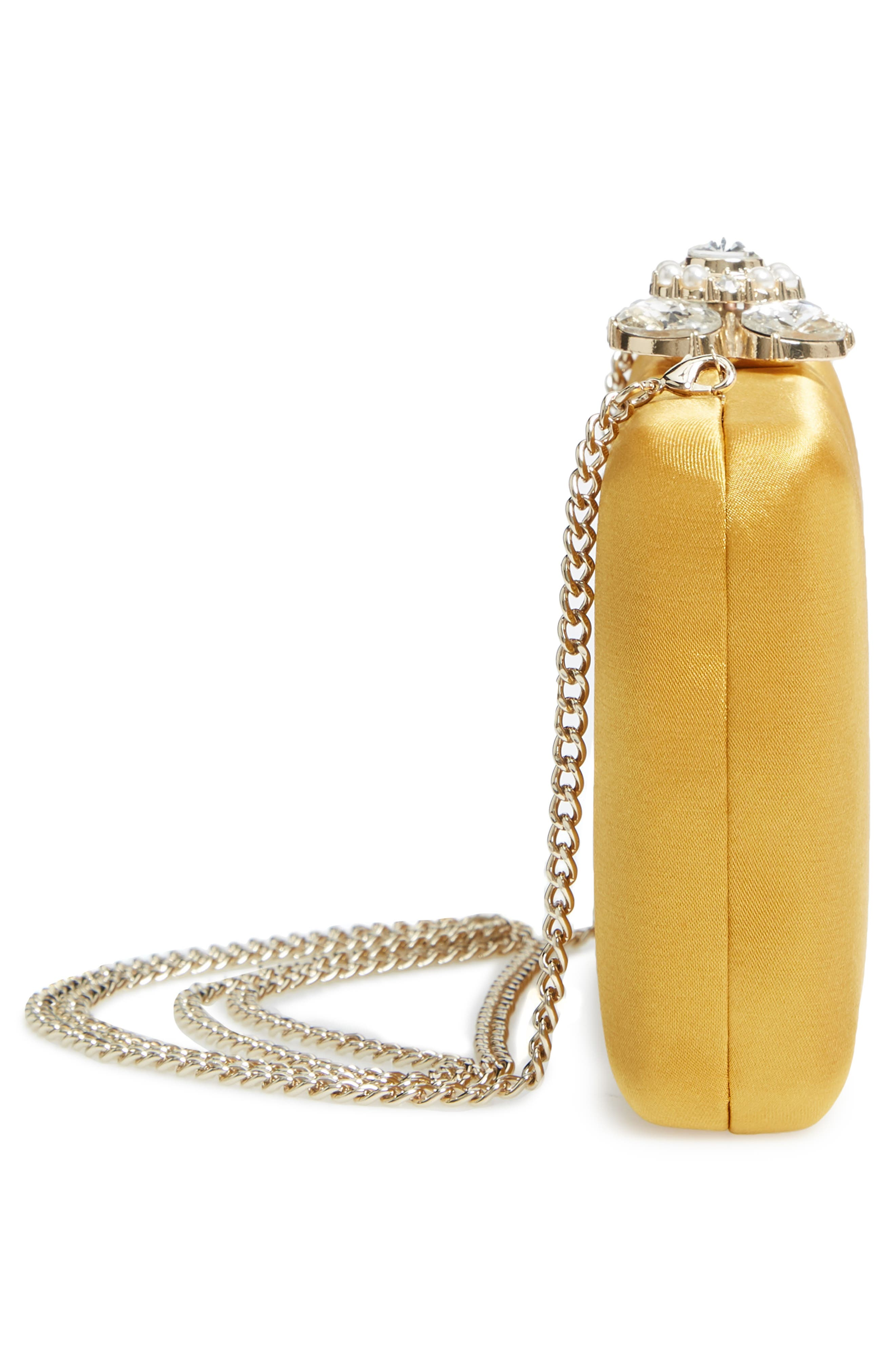 Crystal Imitation Pearl Clasp Box Clutch,                             Alternate thumbnail 5, color,                             YELLOW GOLD