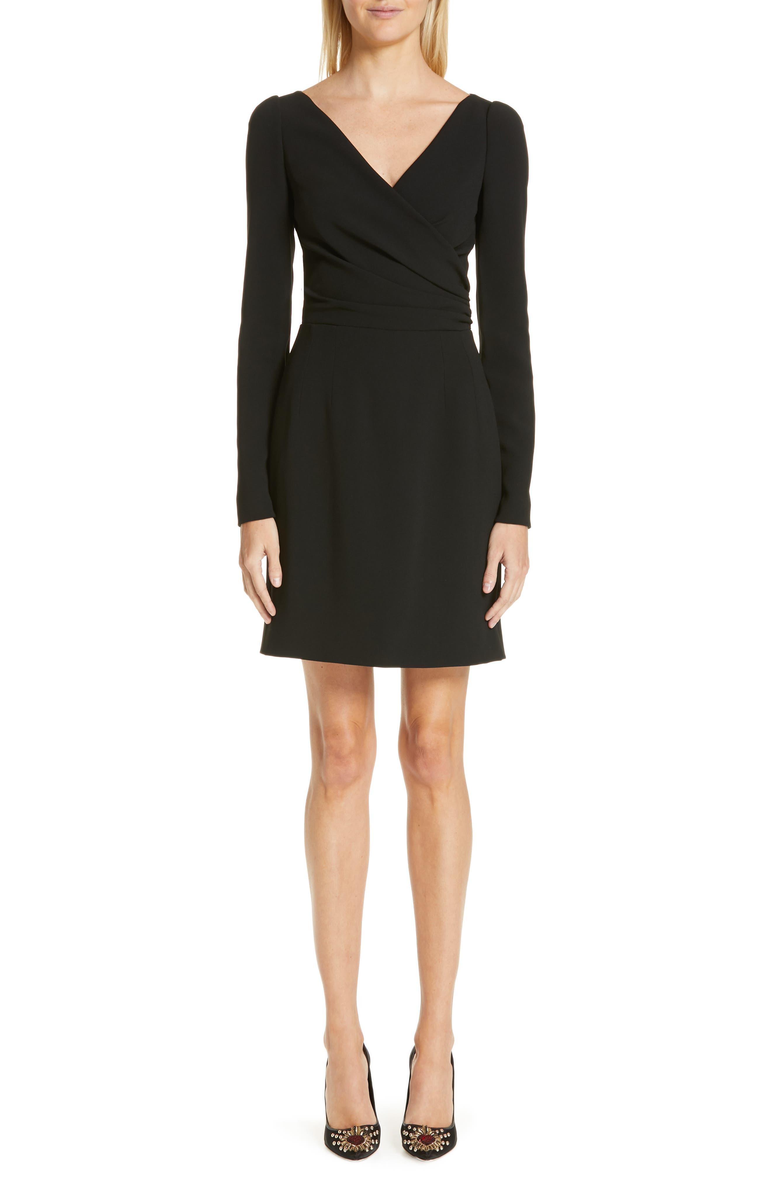 Surplice Dress,                             Main thumbnail 1, color,                             BLACK