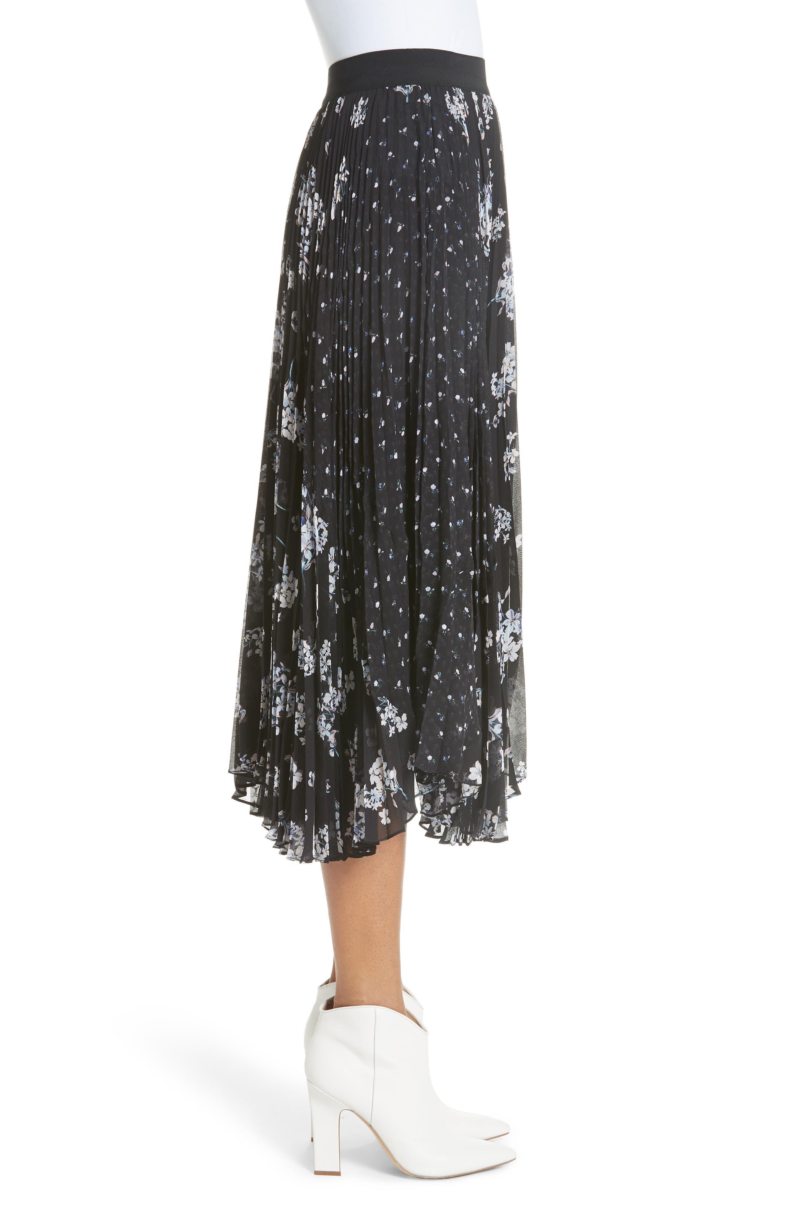 Pleated Hydrangea Skirt,                             Alternate thumbnail 3, color,                             BLACK COMBO